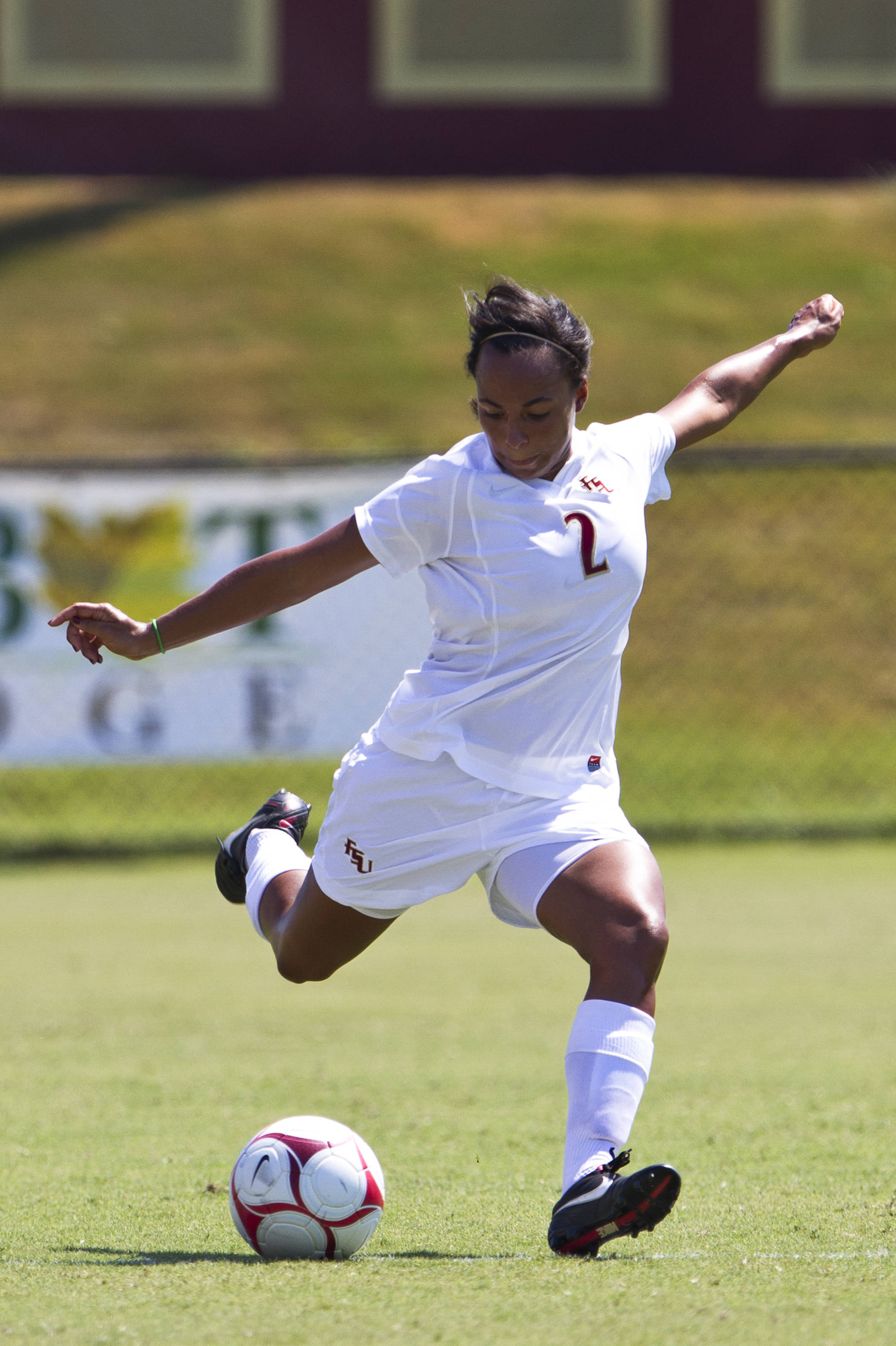 Ines Jaurena (2) crosses the ball in Sunday's game against North Florida.