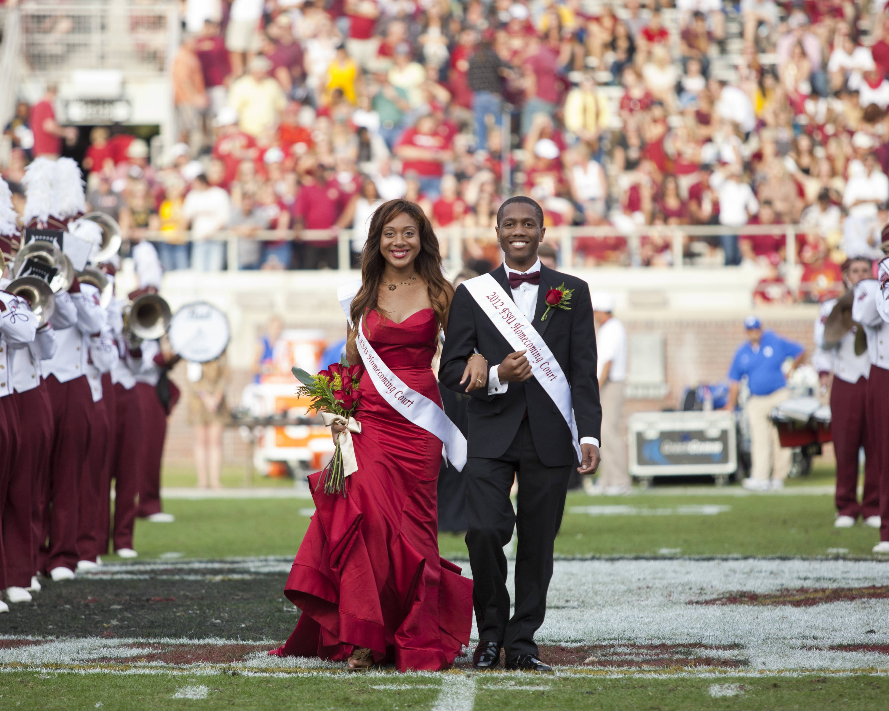 FSU's 2012 Homecoming Court takes the field at halftime during the football game against Duke on October 27, 2012.