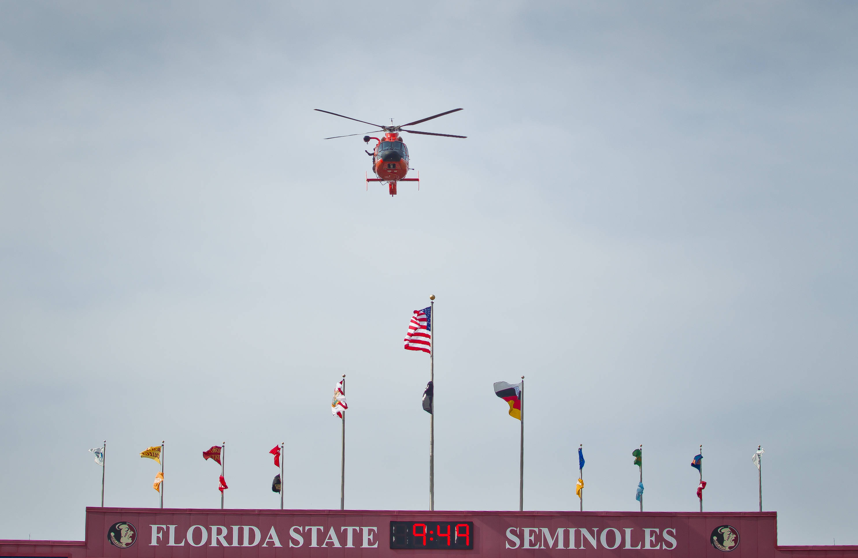 Coast Guard helicopter flyover