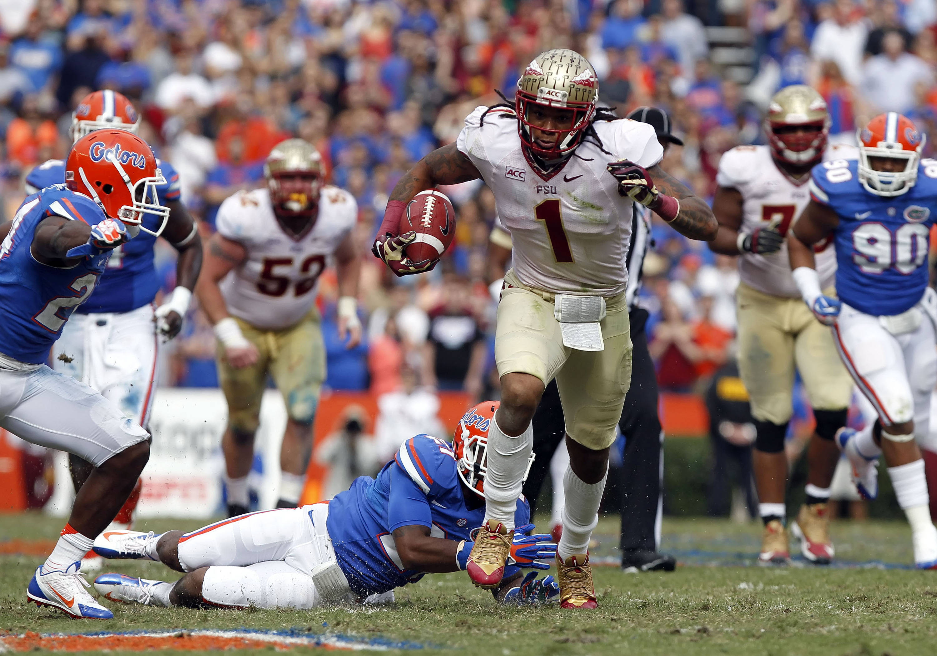 Kelvin Benjamin (1) runs with the ball for a touchdown. Mandatory Credit: Kim Klement-USA TODAY Sports