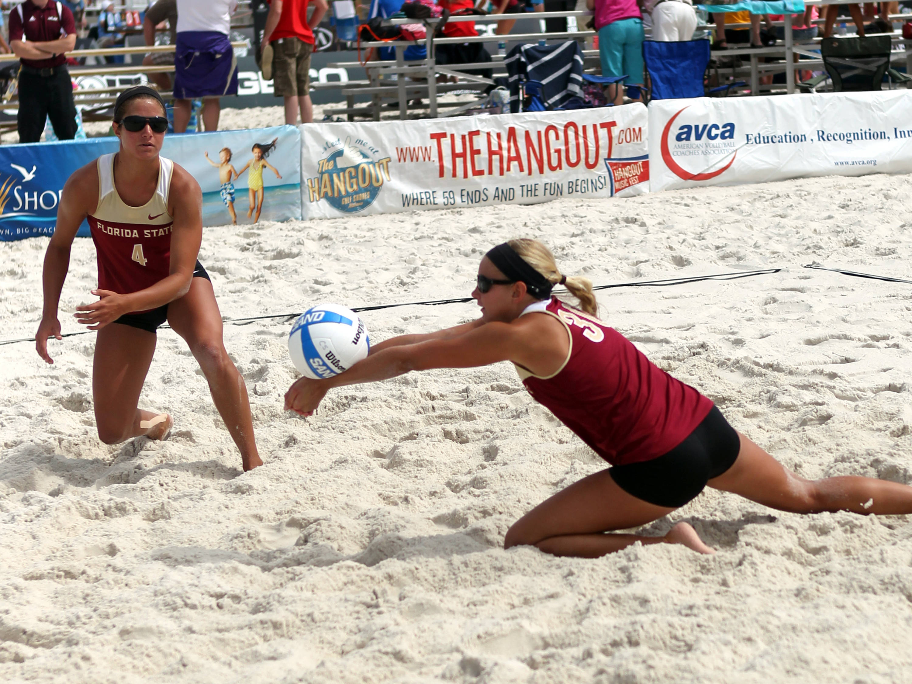 Stephanie Pellitteri (4), Kristina Pellitteri (30), AVCA Collegiate Sand Volleyball National Championships,  Gulf Shores, Alabama,05/03/13 . (Photo by Steve Musco)