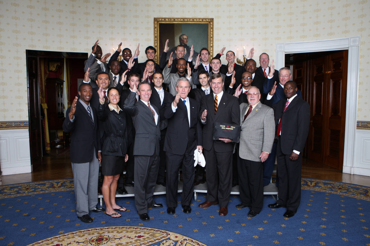 The Men's Track and Field team meets with the President of the United States after winning the National Championship.