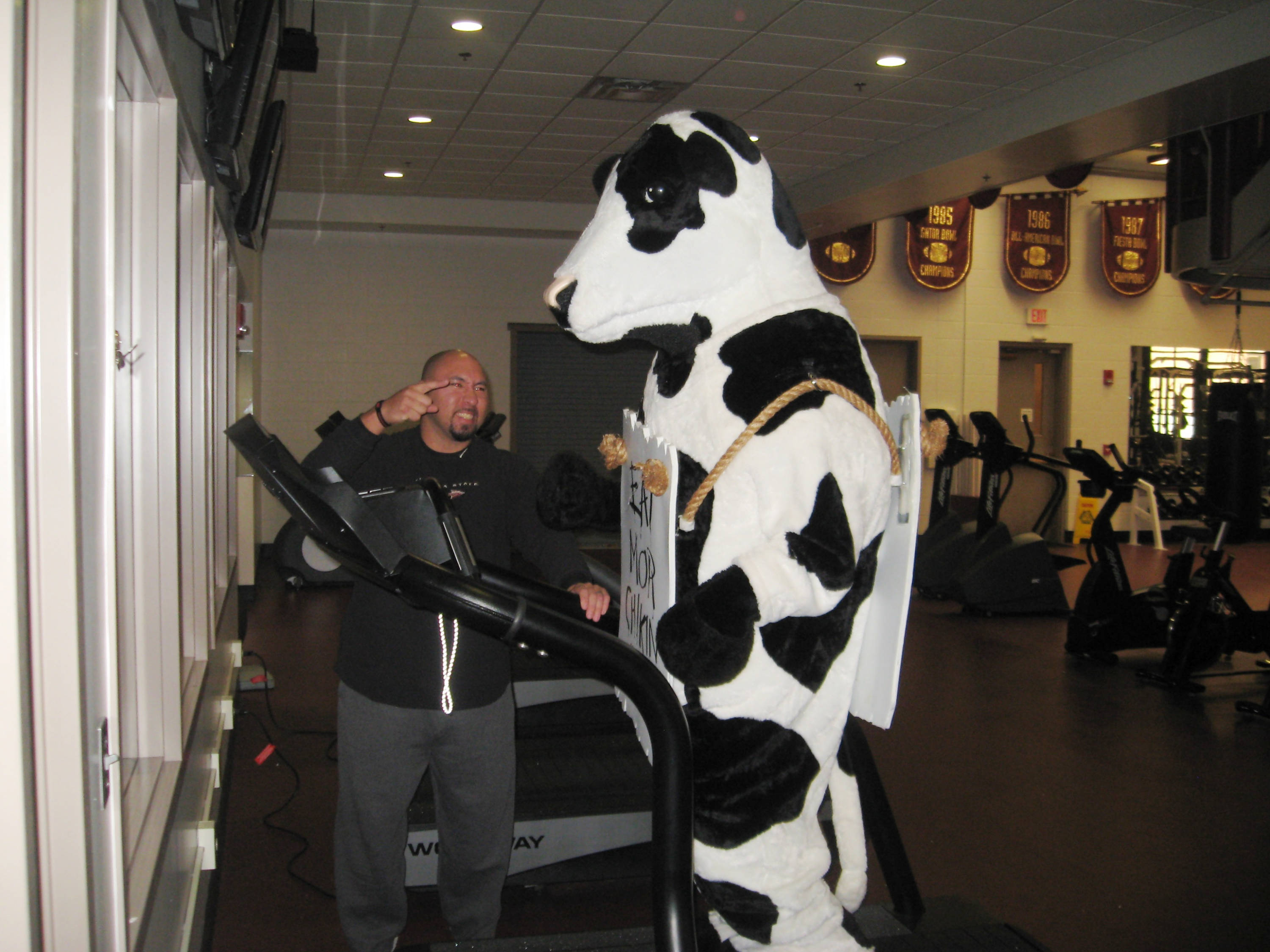 Strength Coach Vic Viloria puts the Chick-fil-A cow through a rigorous workout.
