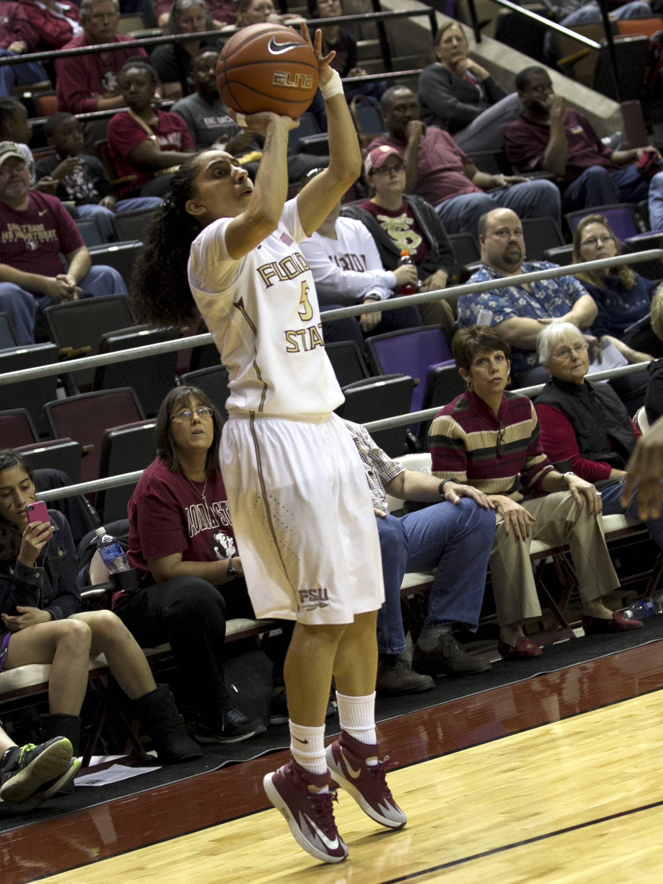 Cheetah Delgado (5) just starting her release for a three, FSU vs Miami, 2-16-14, (Photo's by Steve Musco)