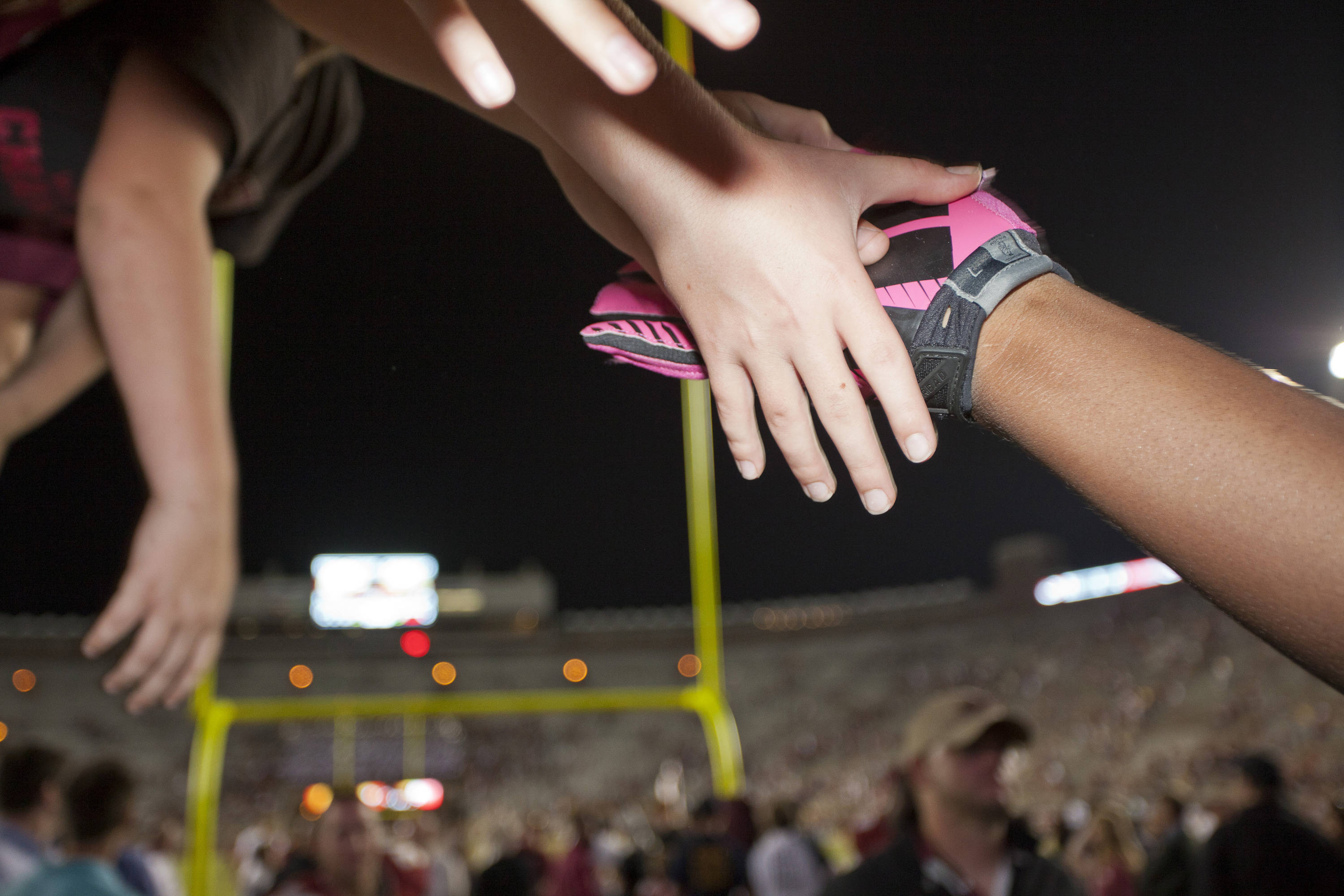 An FSU player high fives fans after the FSU vs Boston College football game on October 13, 2012 in Tallahassee, Fla.