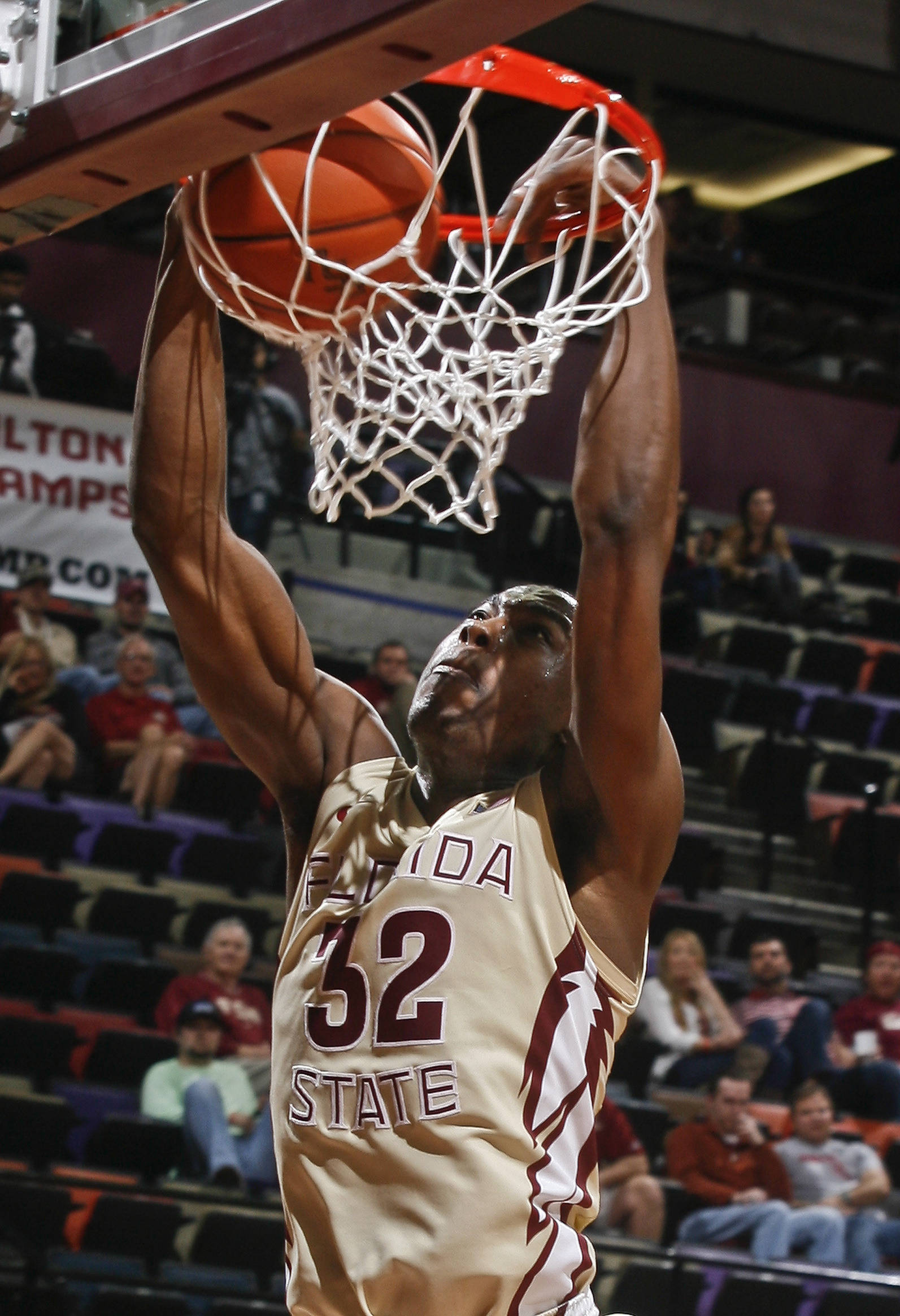 Feb 5, 2014; Tallahassee, FL, USA; Seminoles guard Montay Brandon (32) dunks after stealing the ball in the second half. Phil Sears-USA TODAY Sports