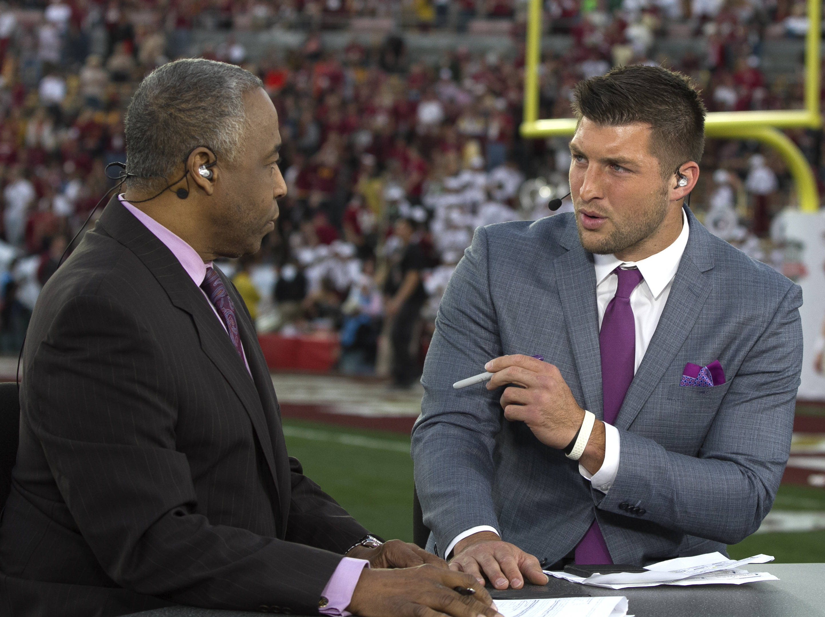 Announcers Jon Saunders and former Florida Gator Great Tim Tebow, BCS Championship, FSU vs Auburn, Rose Bowl, Pasadena, CA,  1-06-14,  (Photo by Steve Musco)