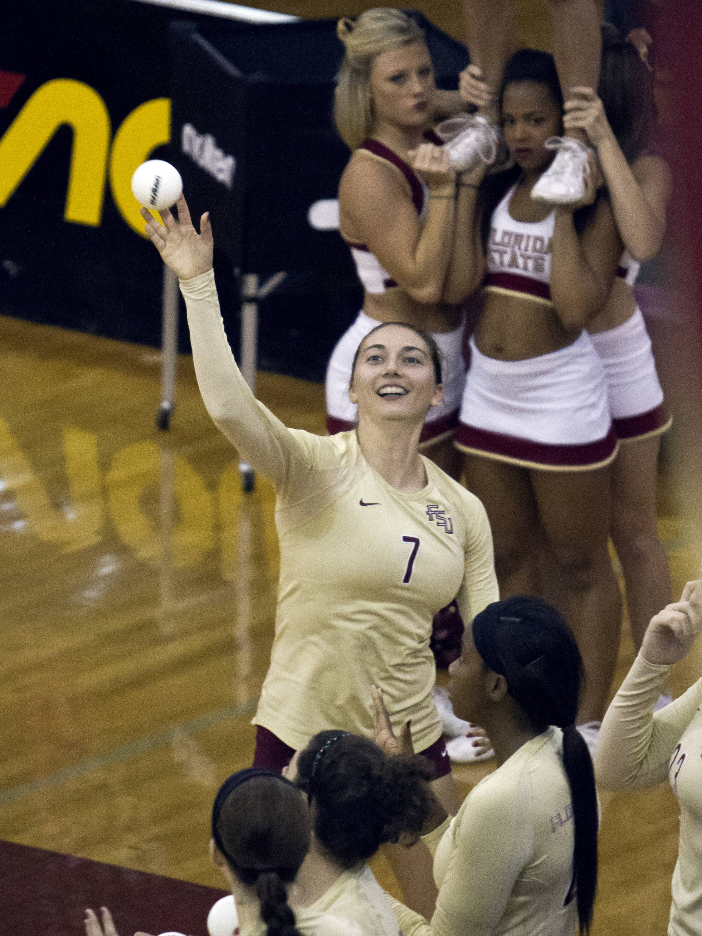 Fatma Yildirim (7) with a pre-game ball toss to the fans, FSU vs NC, 10/05/12 (Photo by Steve Musco)