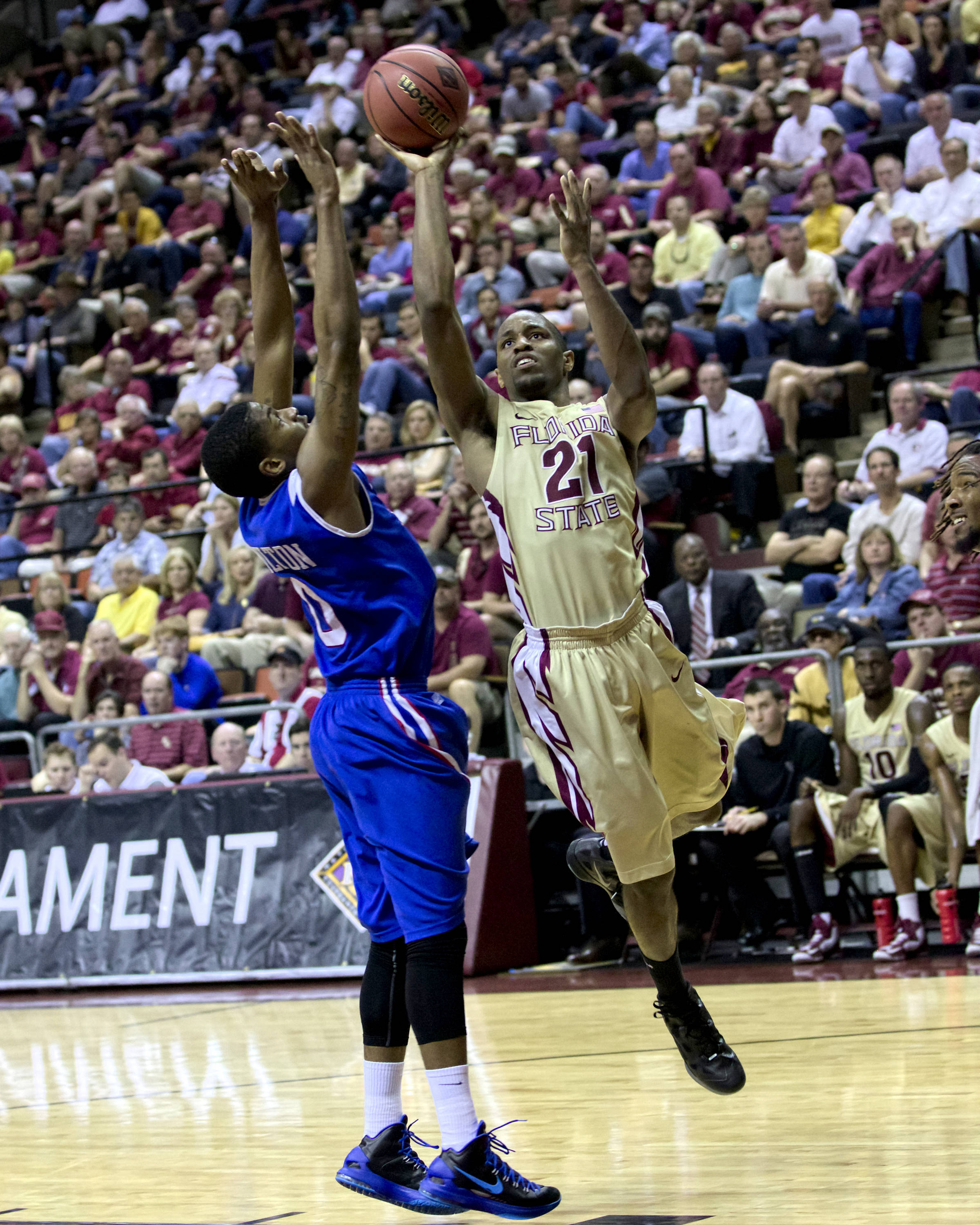 Michael Snaer (21), NIT First Round, FSU vs Louisiana Tech, 03/19/13 . (Photo by Steve Musco)