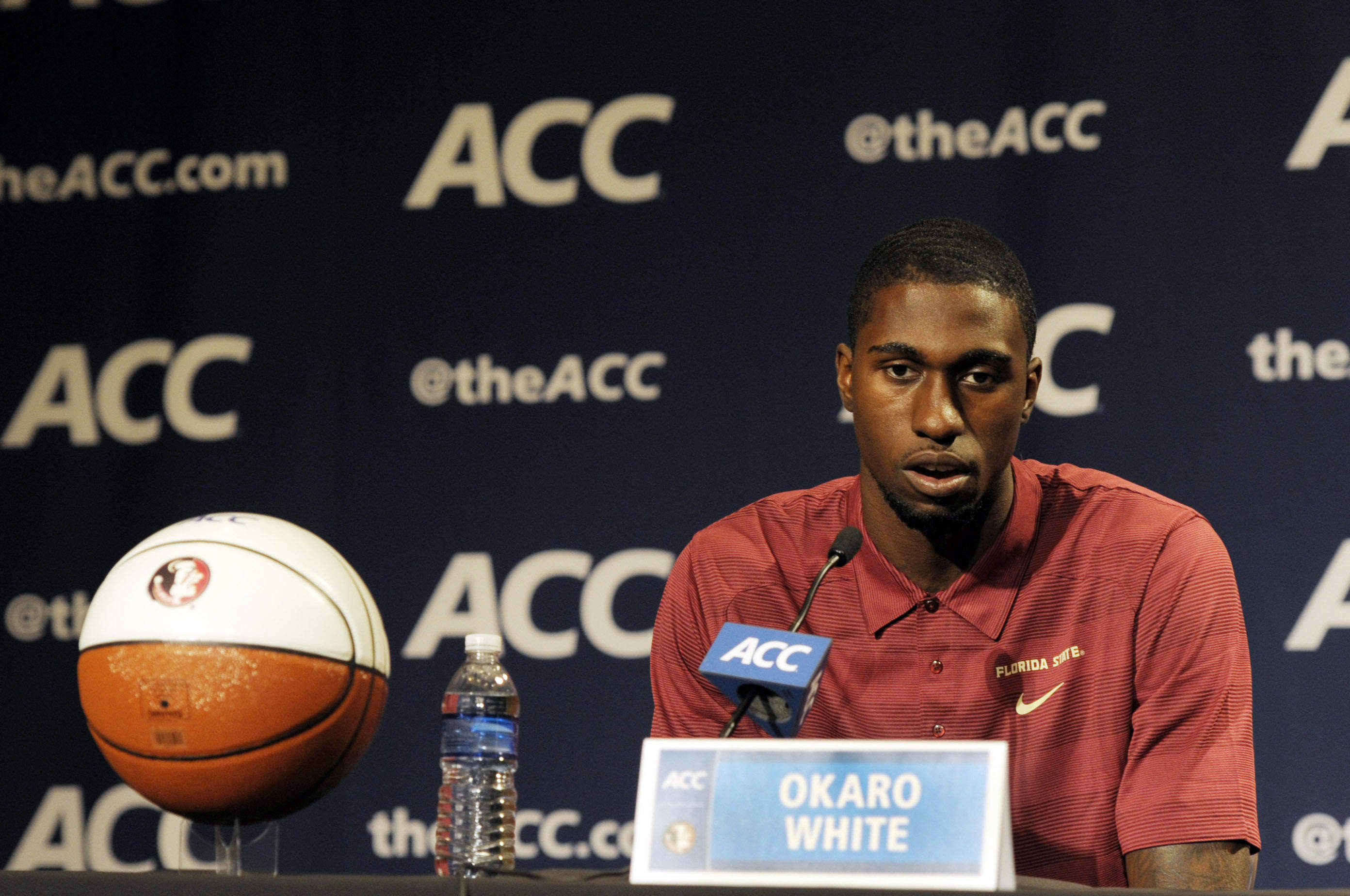 Florida State Seminoles forward Okaro White addresses the media during the ACC basketball media day at The Ritz-Carlton. (Sam Sharpe-USA TODAY Sports)