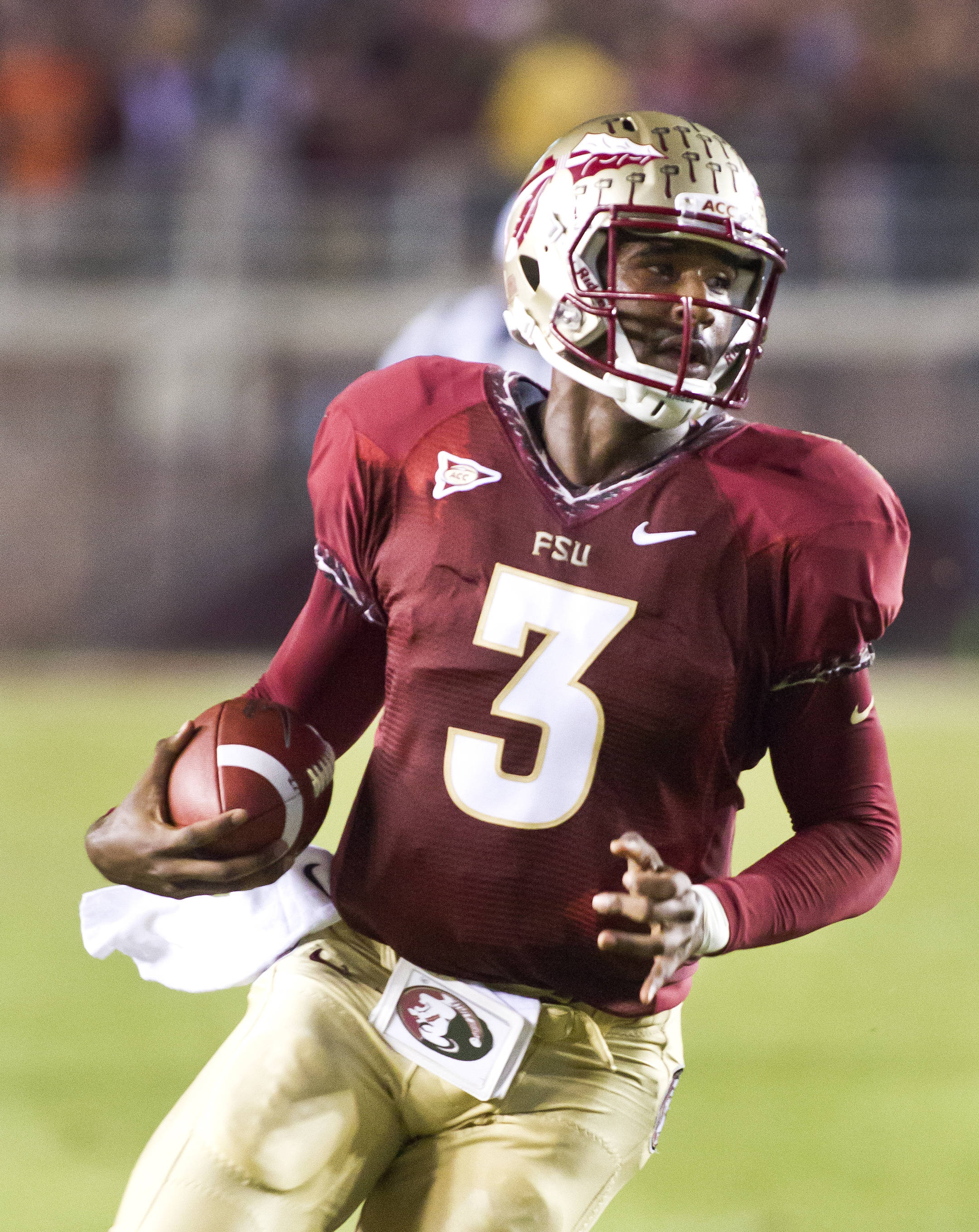 EJ Manuel (3) on a run, FSU vs Clemson, 9/22/12 (Photo by Steve Musco)
