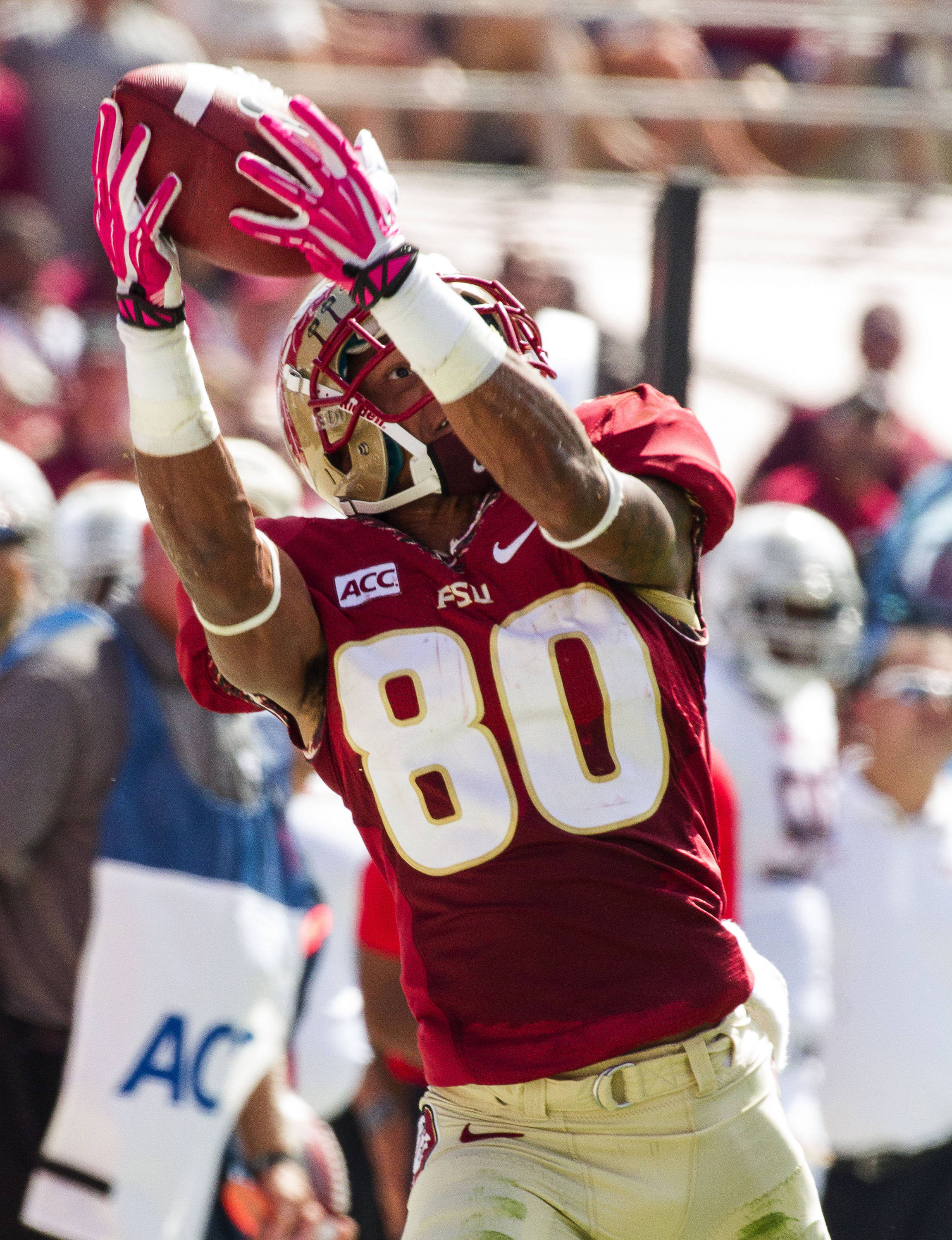 Rashad Greene (80) attempts to make a catch as he runs down the sideline during FSU Football's 63-0 shutout of Maryland on Saturday, October 5, 2013 in Tallahassee, Fla.