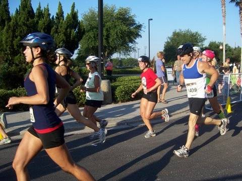 Erica Stephan competes in the running portion of the event