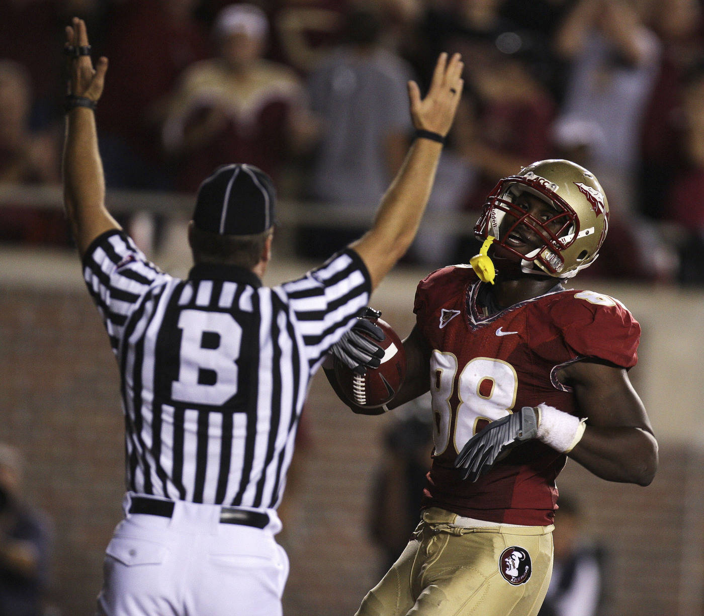 Florida State tight end Beau Reliford scores a first-quarter touchdown during an NCAA college football game against Georgia Tech, Saturday, Oct. 10, 2009, in Tallahassee, Fla.