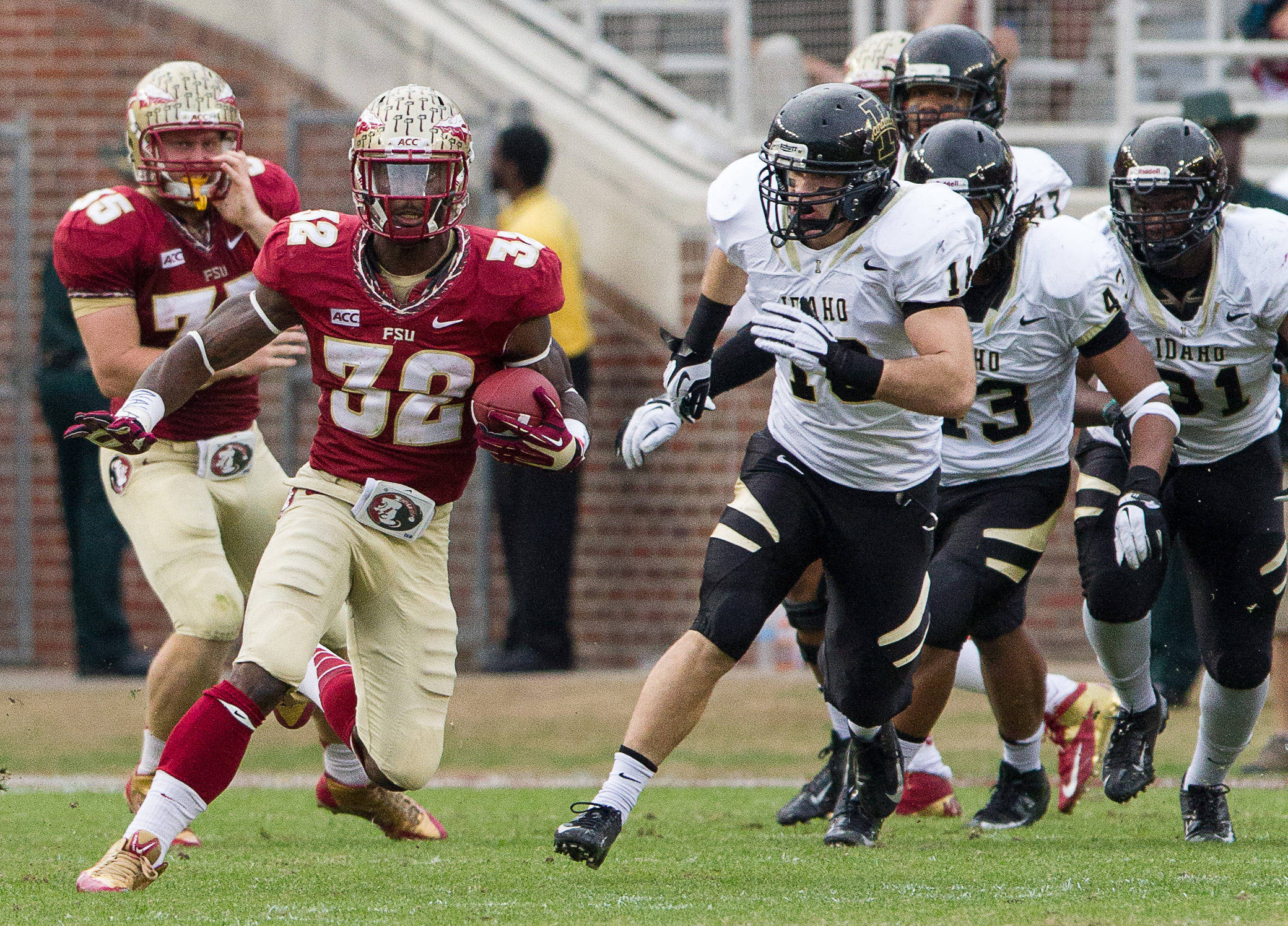 James Wilder, Jr. (32) returns the ball during FSU Football's 80-14 victory over Idaho in Tallahassee, Fla on Saturday, November 23, 2013. Photos by Mike Schwarz.