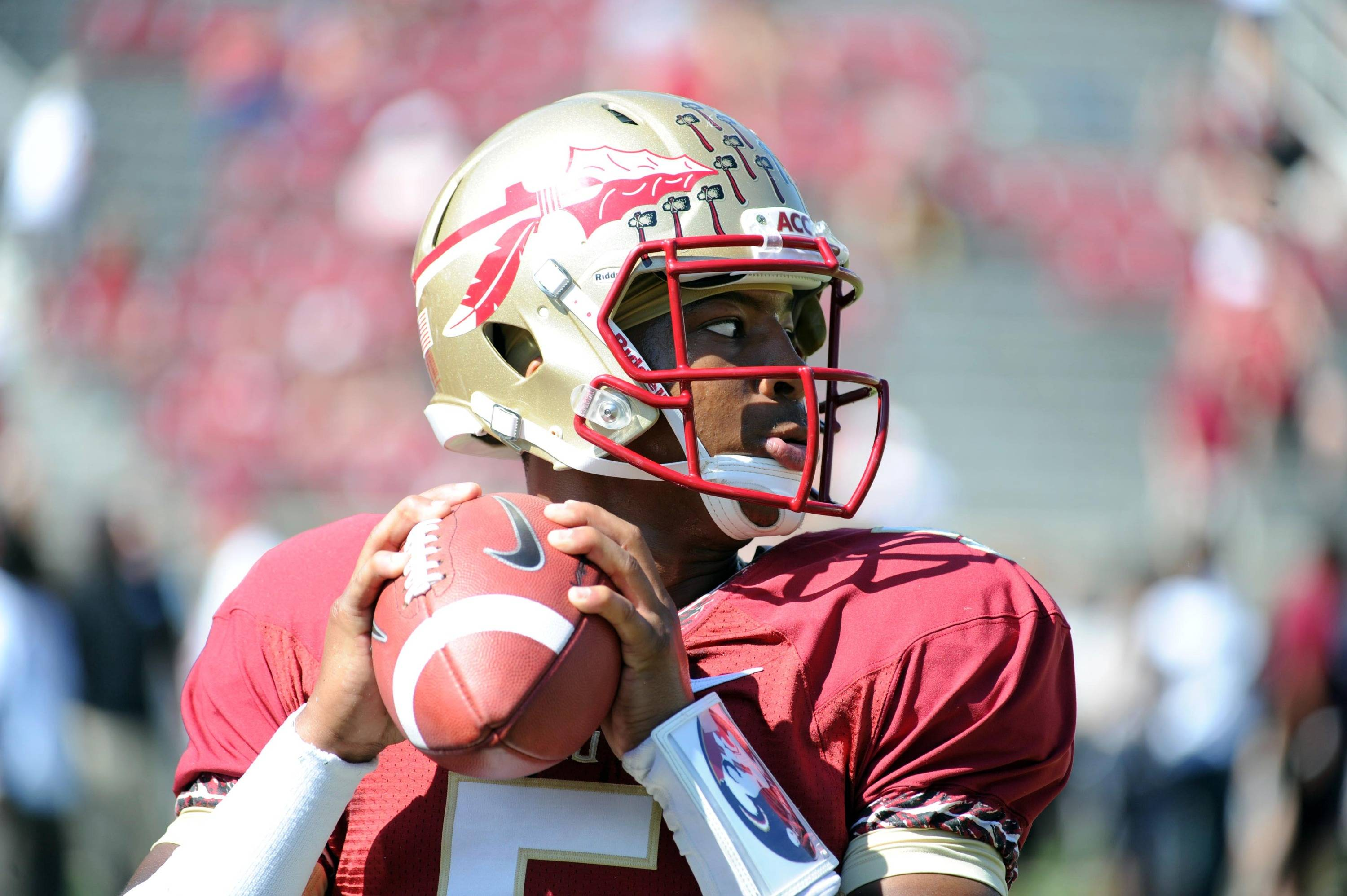 Quarterback Jameis Winston (5). Mandatory Credit: Melina Vastola-USA TODAY Sports