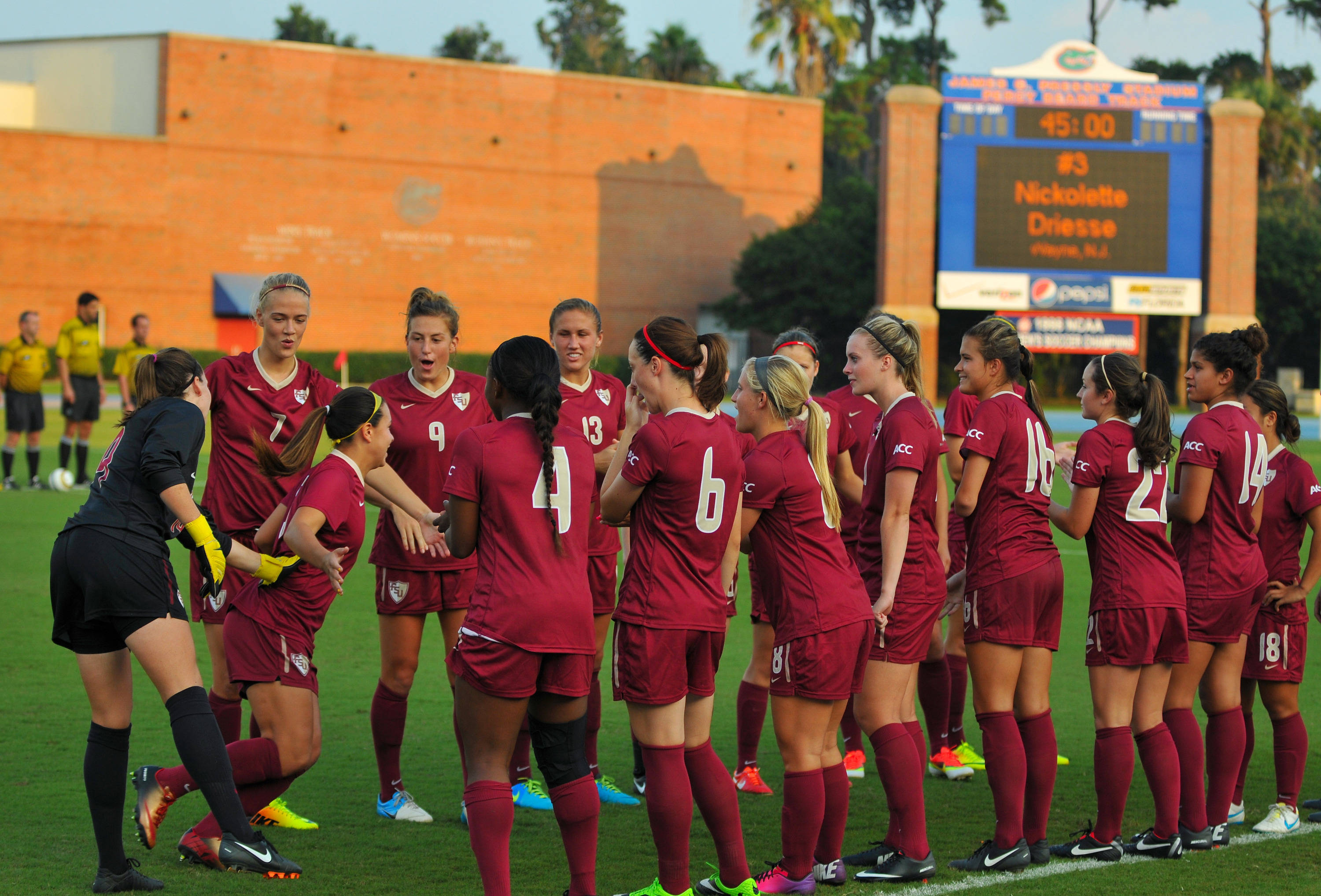 The Seminoles during Friday night's starting line-ups.