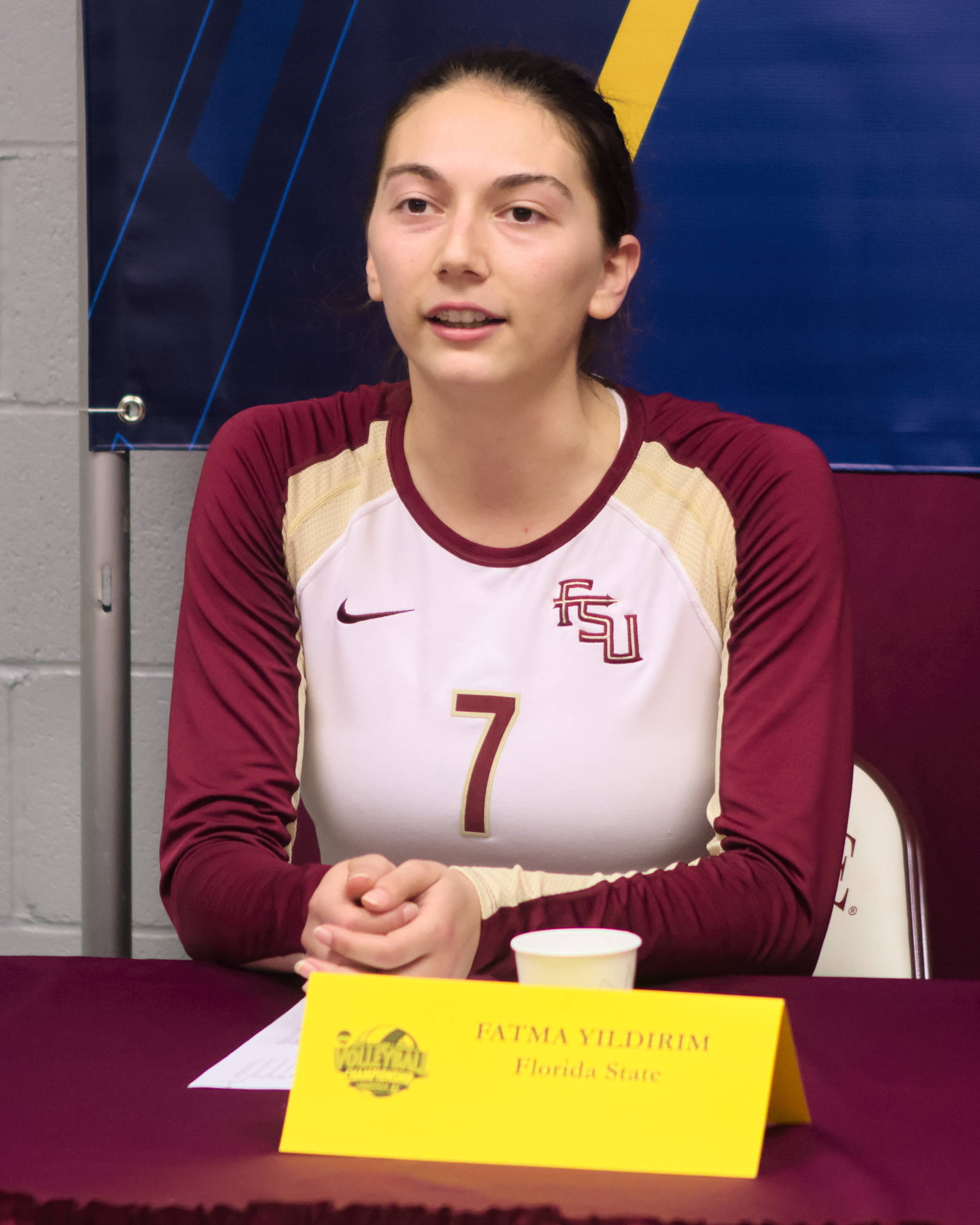 Fatma Yildirim (7) interview, FSU vs Hofstra, 11/30/12. (Photo by Steve Musco)