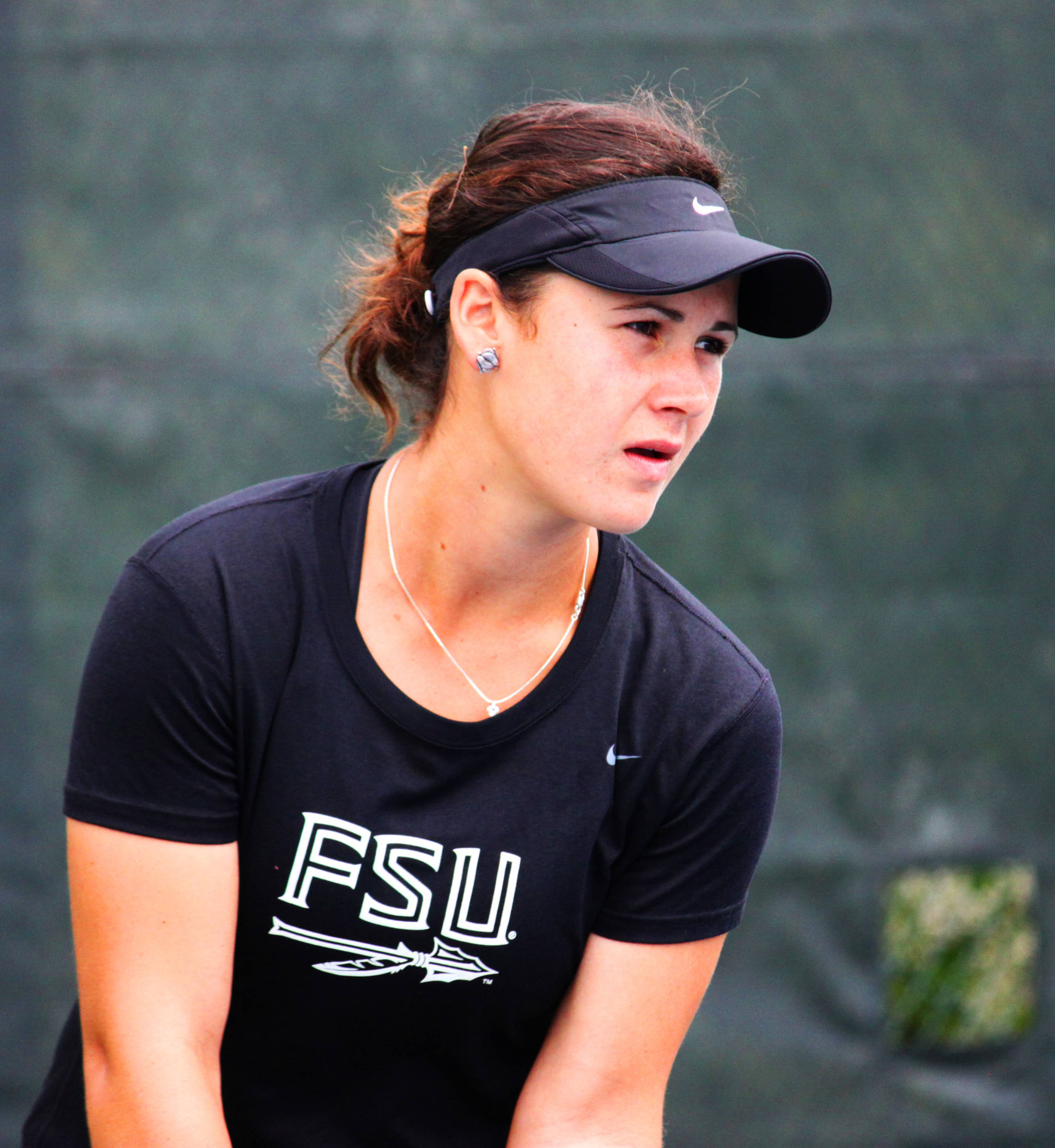 Francesca Segarelli stares down her opponent before serving the ball.