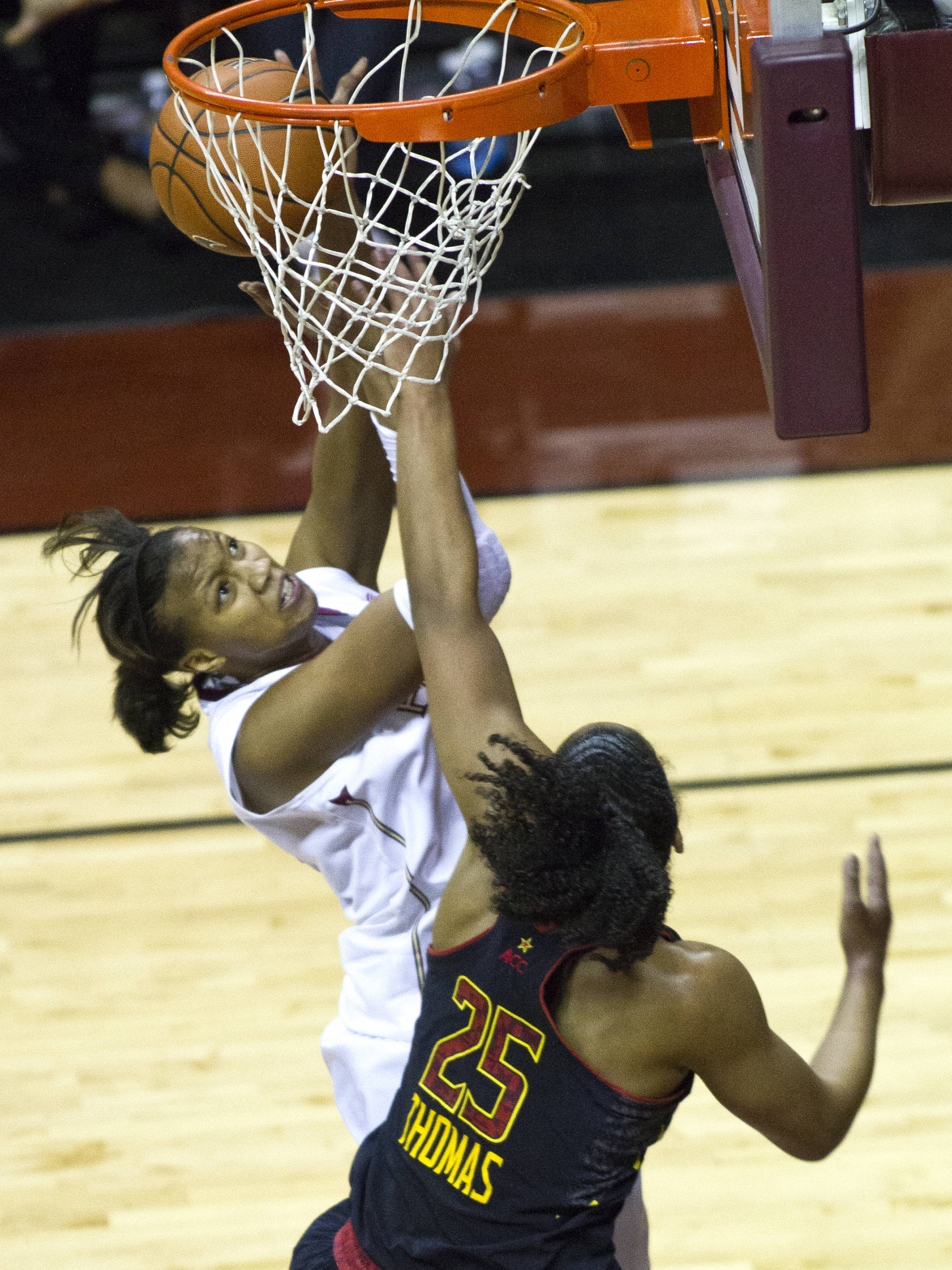 Chelsea Davis (34), FSU vs Maryland, 02/28/13. (Photo by Steve Musco)