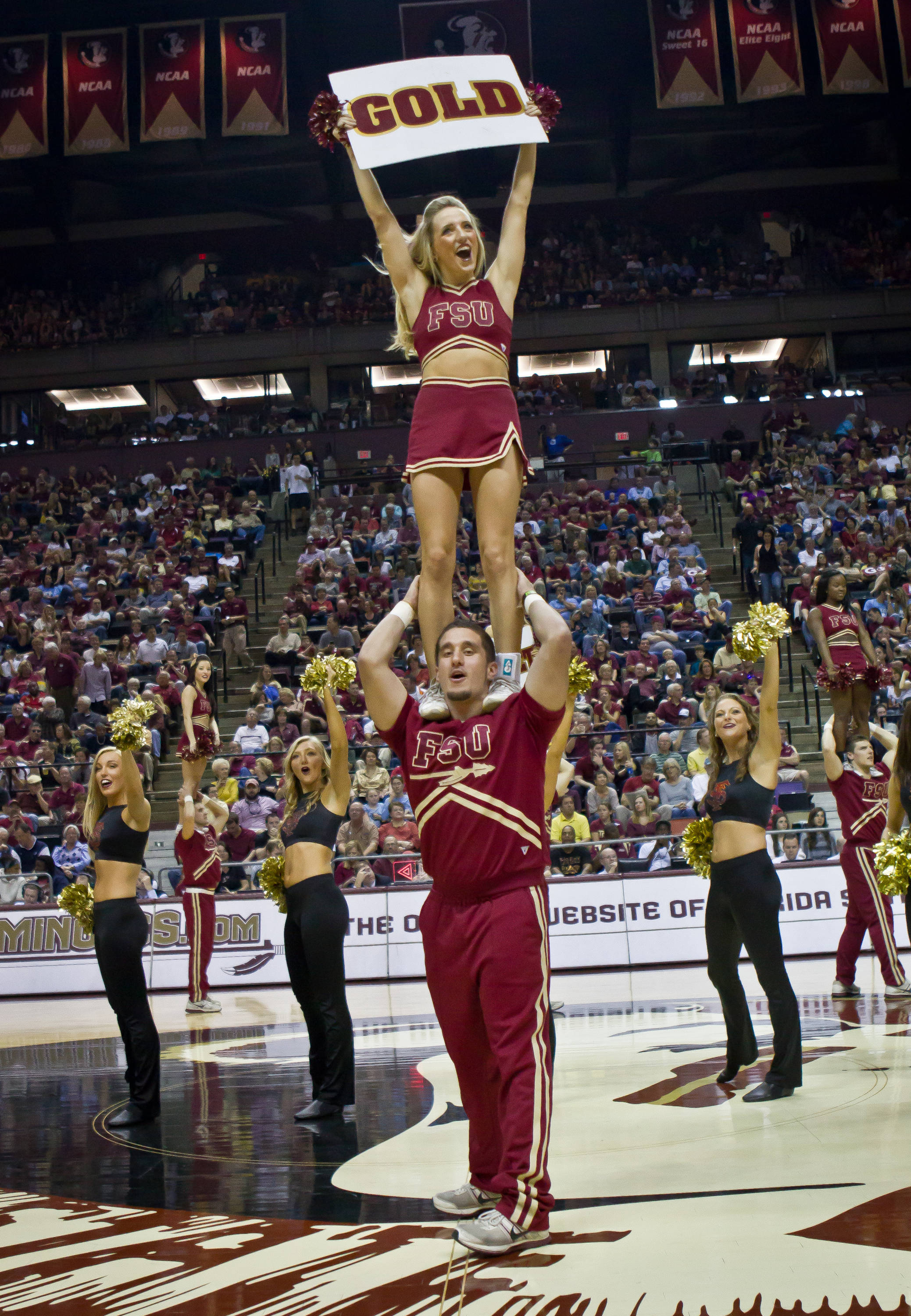 FSU Cheerleaders and Golden Girls fire up the crowd.