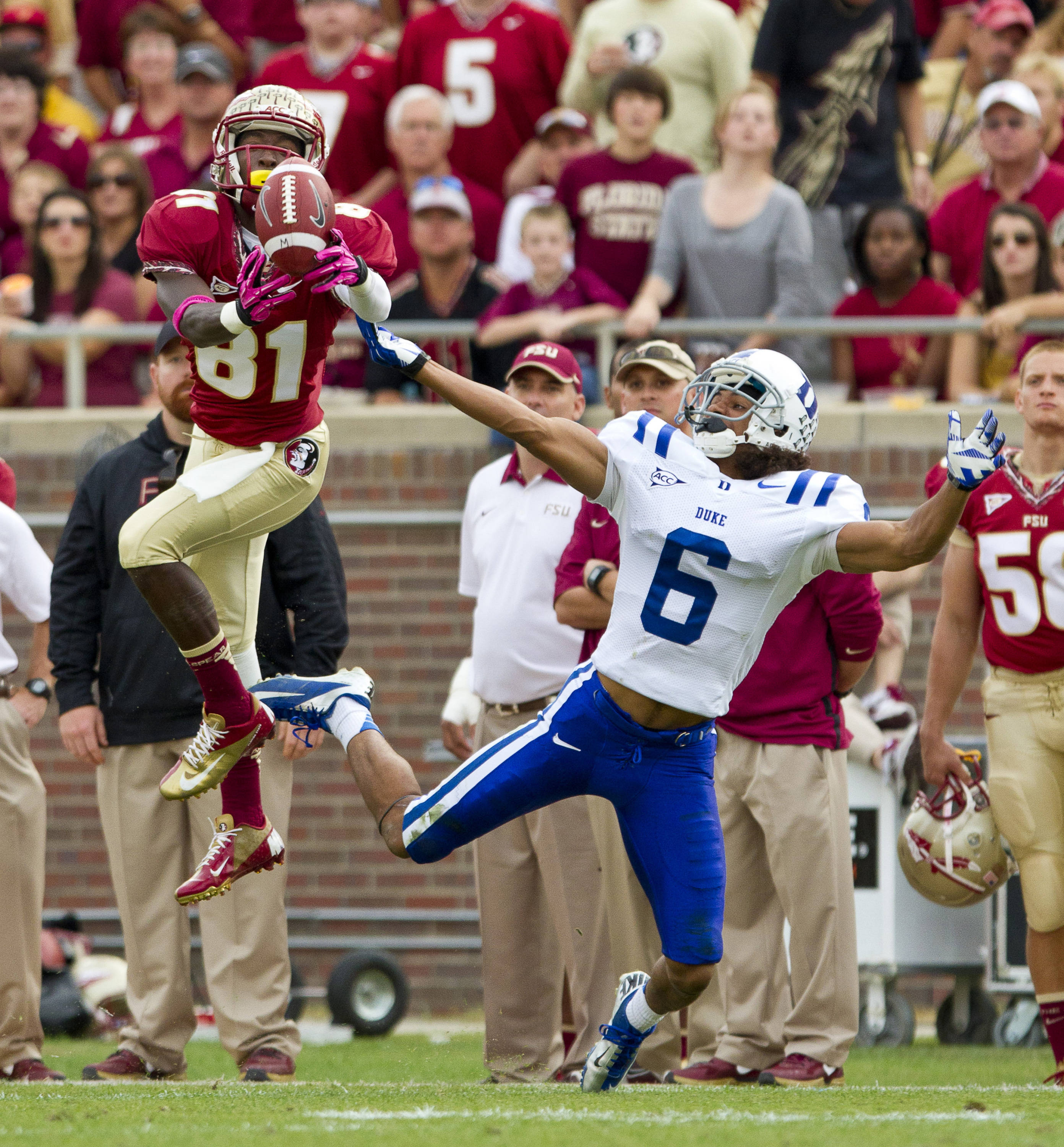 Kenny Shaw (81) reaches for a ball during FSU's 48-7 victory over Duke on October 27, 2012 in Tallahassee, Fla.