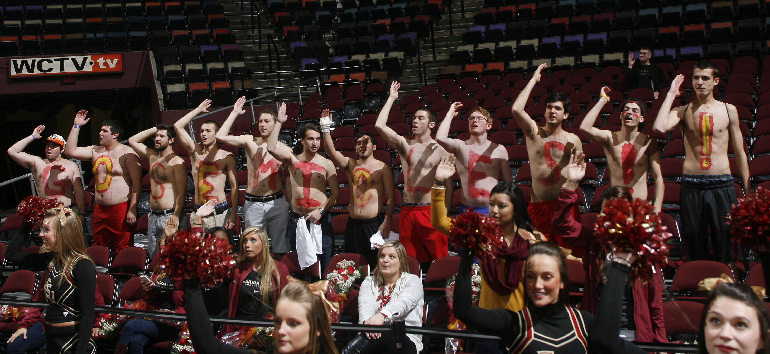 Florida State fans cheer at the end of the second half. (AP Photo/Phil Sears)