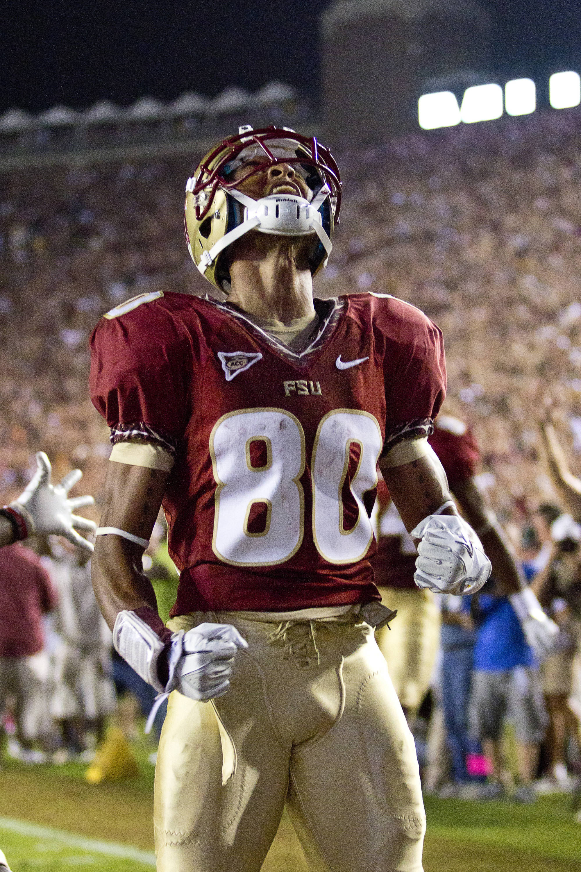 Rashad Greene (80) reacts after scoring FSU's only touchdown in the game against Oklahoma on September 17, 2011.