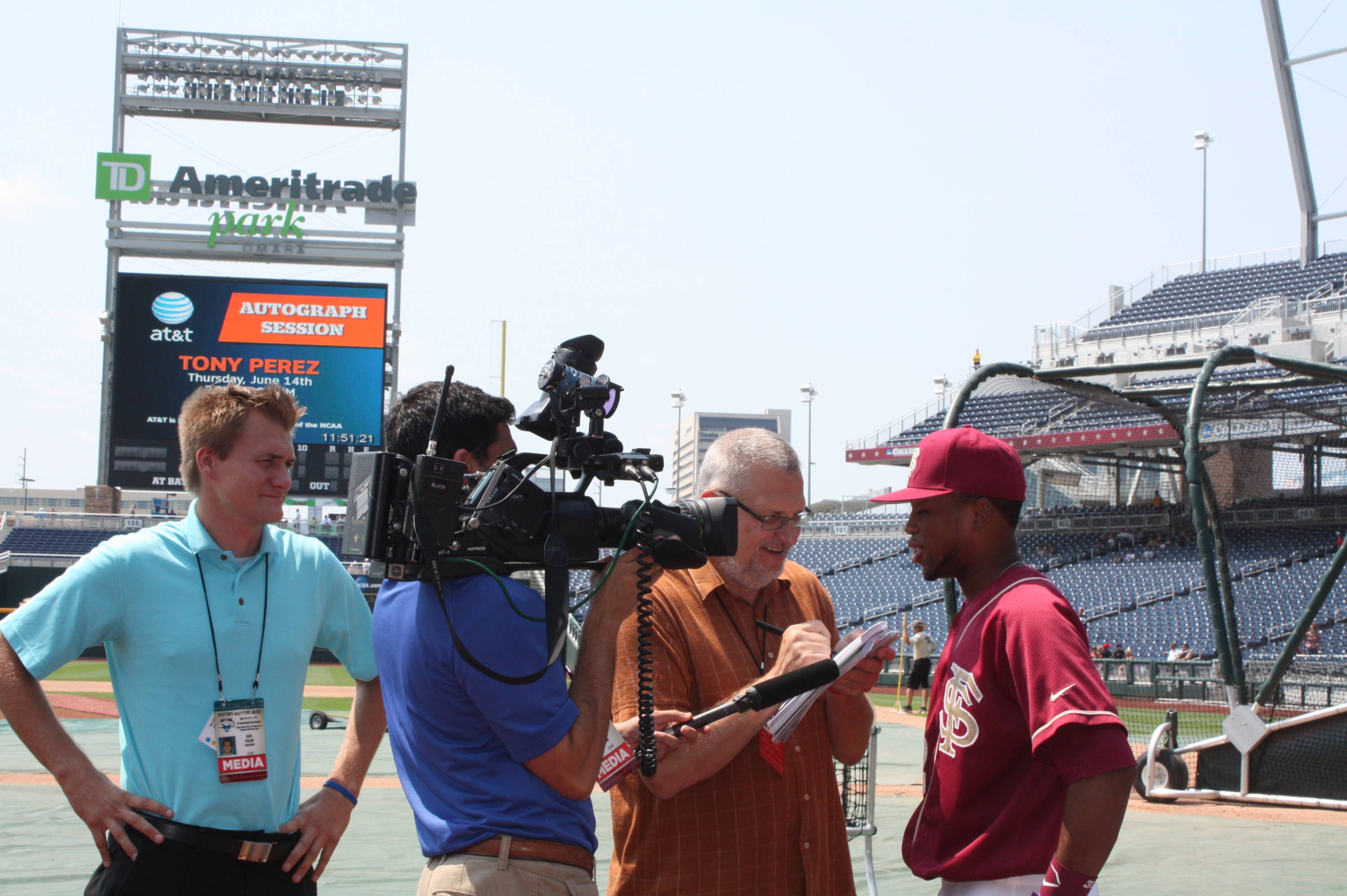 Sherman Johnson speaks to the media following practice at TD Ameritrade Park