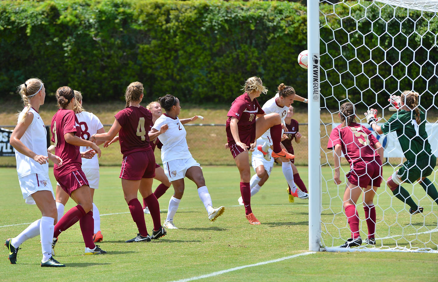Kristin Grubka flies in for the header off the corner to score the first goal of the game in the 42nd minute.