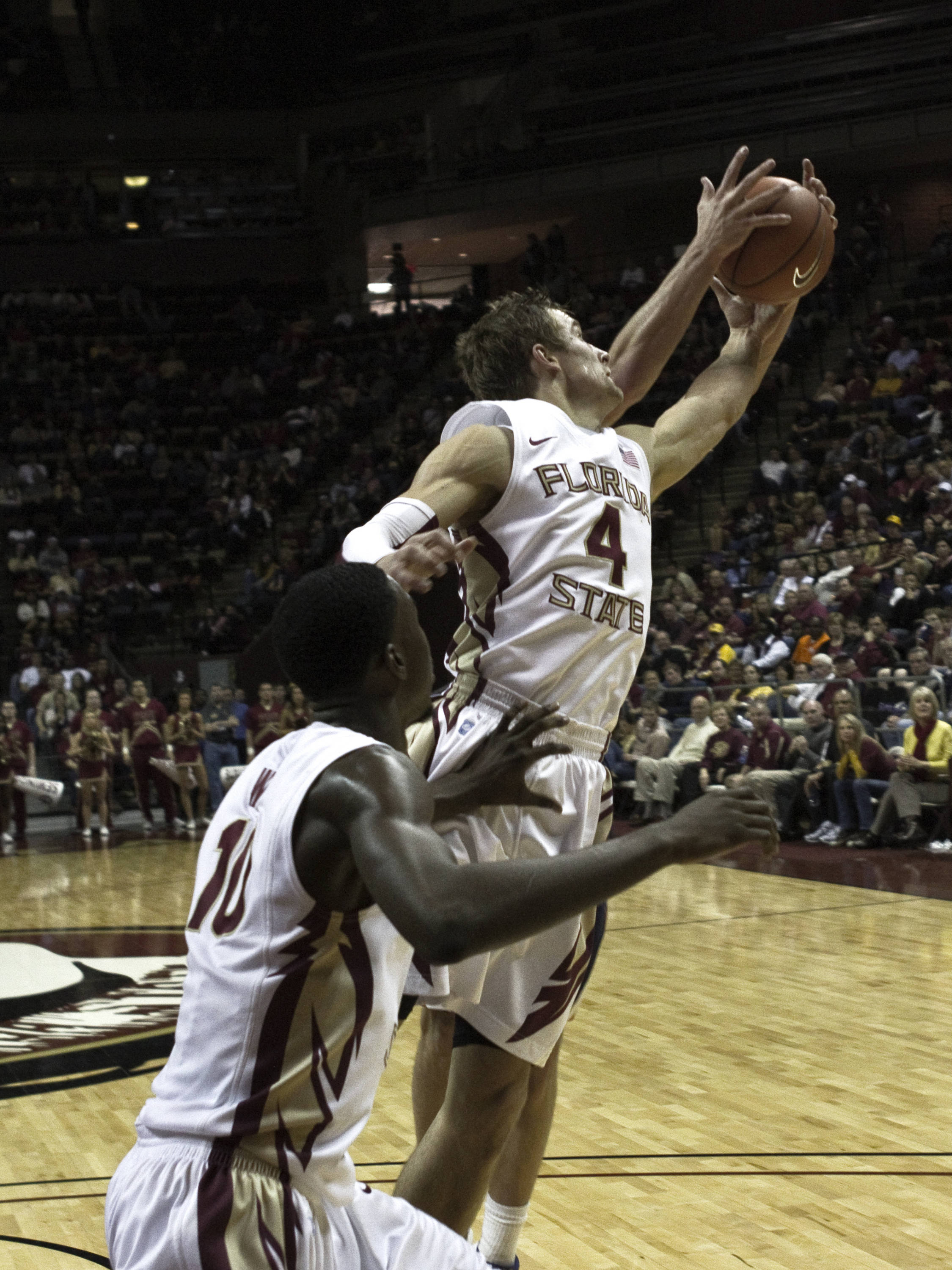 FSU vs Virginia- 02//12/11 - Deividas Dulkys (4), Okaro White (10)