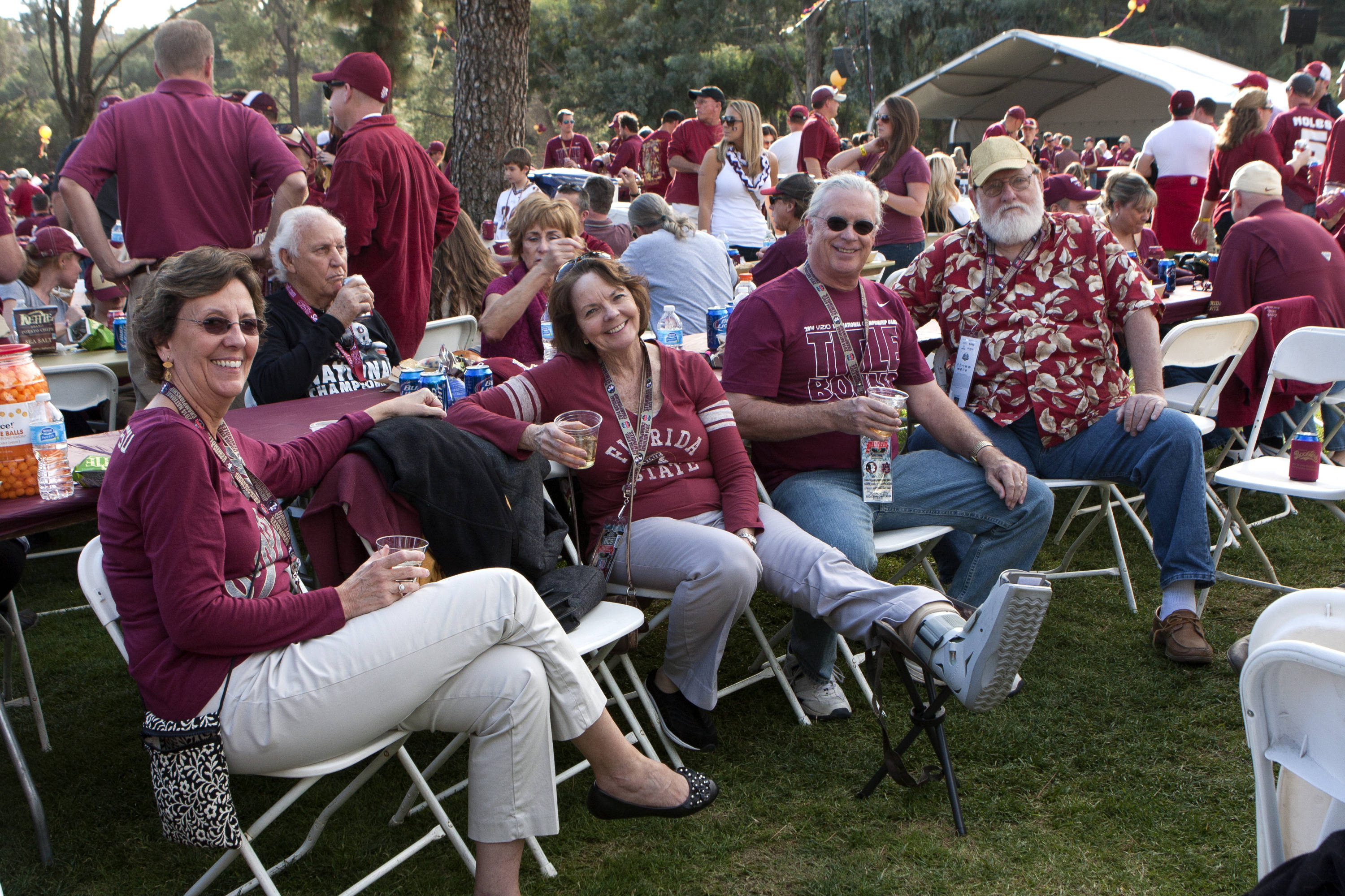 I'll get to the game no matter what, FSU at BCS Championship, Rose Bowl, Pasadena, CA,  1-06-14,  (Photo by Steve Musco)
