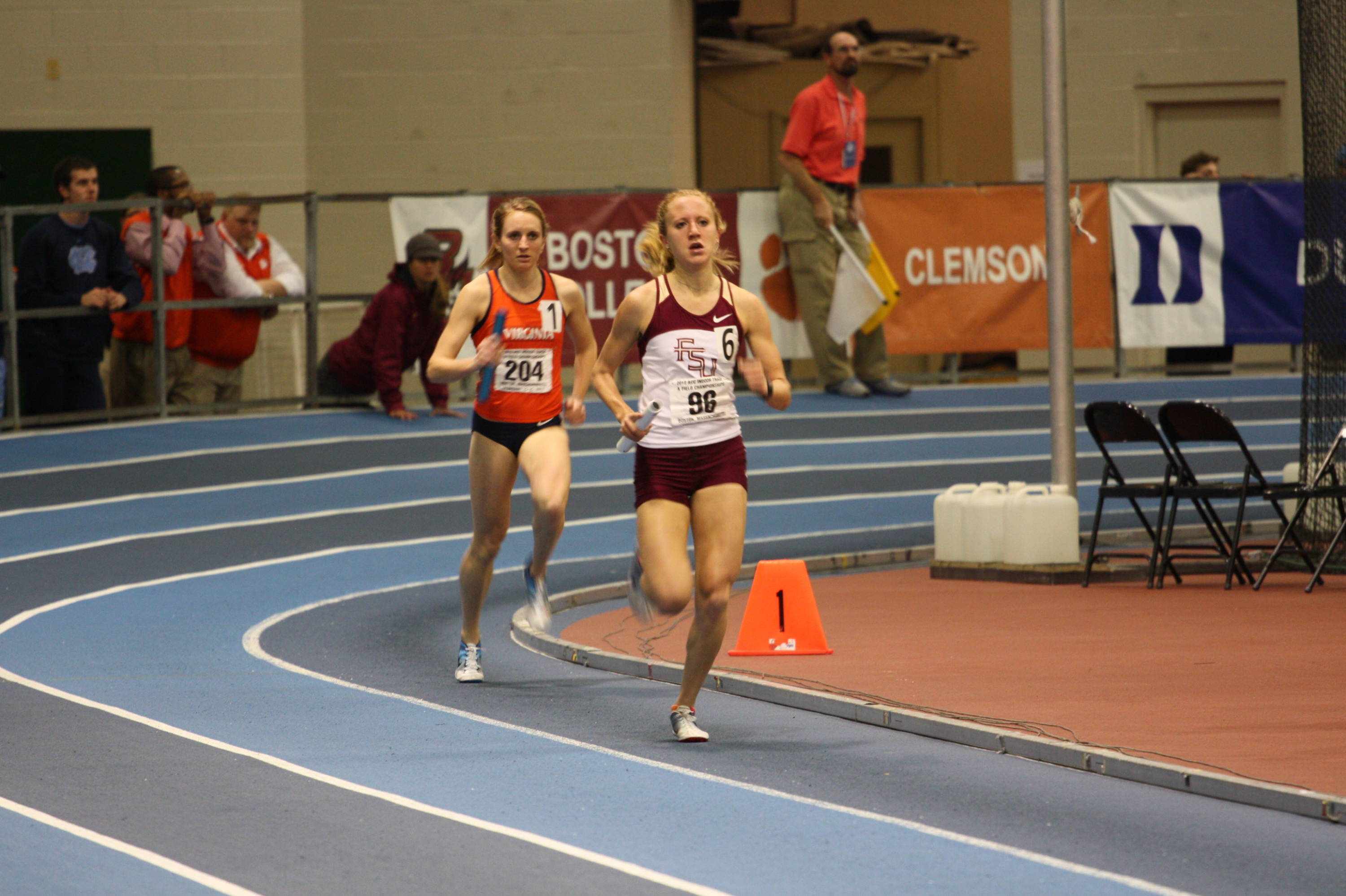 FSU junior Amanda Winslow brought the baton around in the mile leg of the ACC Championship record-setting DMR in 4:34...