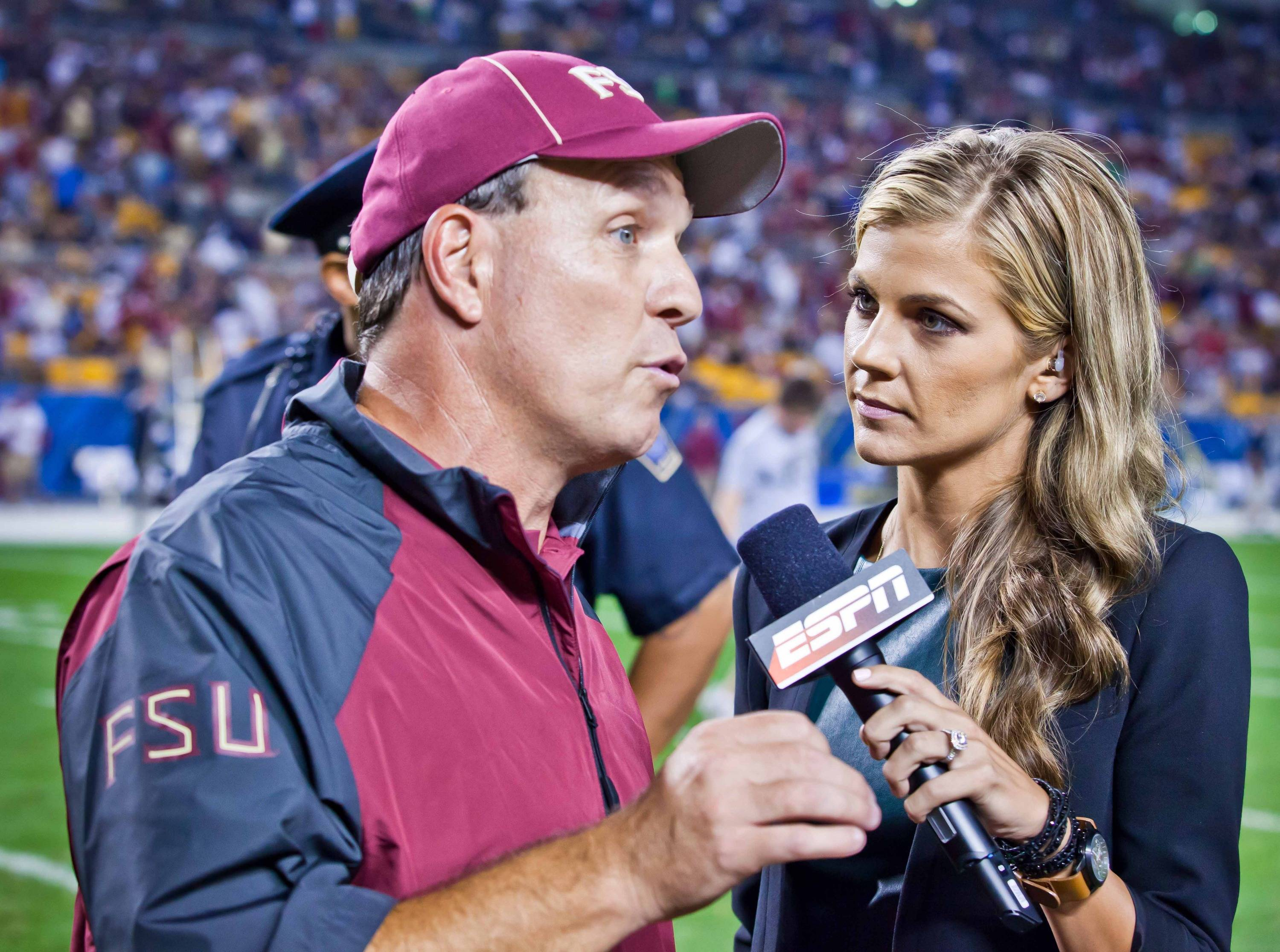 Jimbo Fisher is interviewed by ESPN's Samantha Steele.