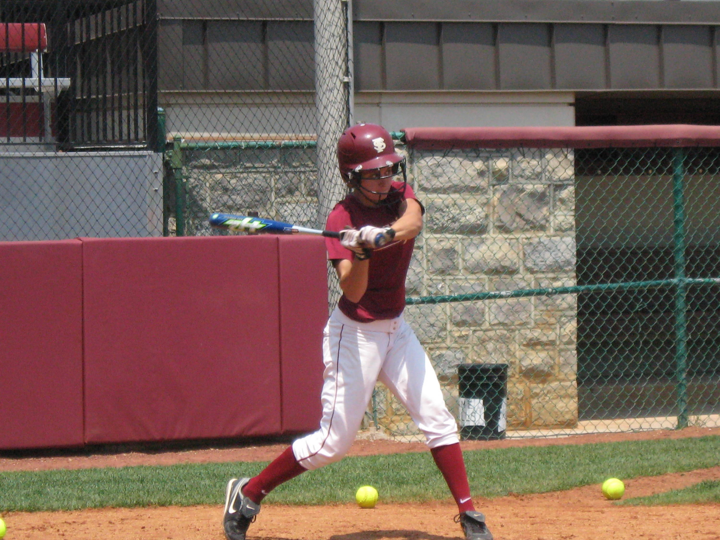 Brittany Joseph gets ready to hit a pitch during Thursday's practice.