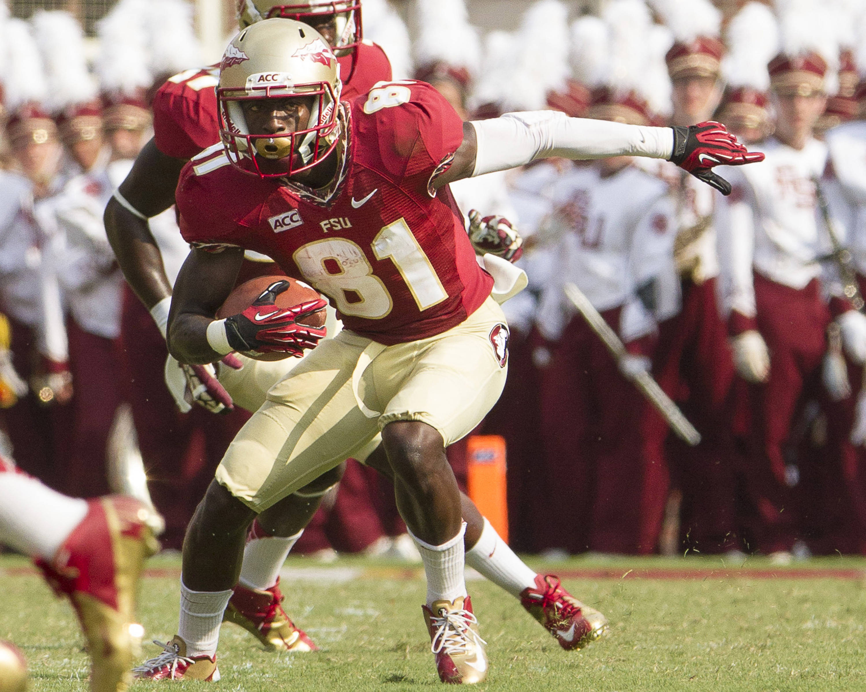 Kenny Shaw (81) carries the ball during FSU's 62-7 win over Nevada on Saturday, Sept 14, 2013 in Tallahassee, Fla.