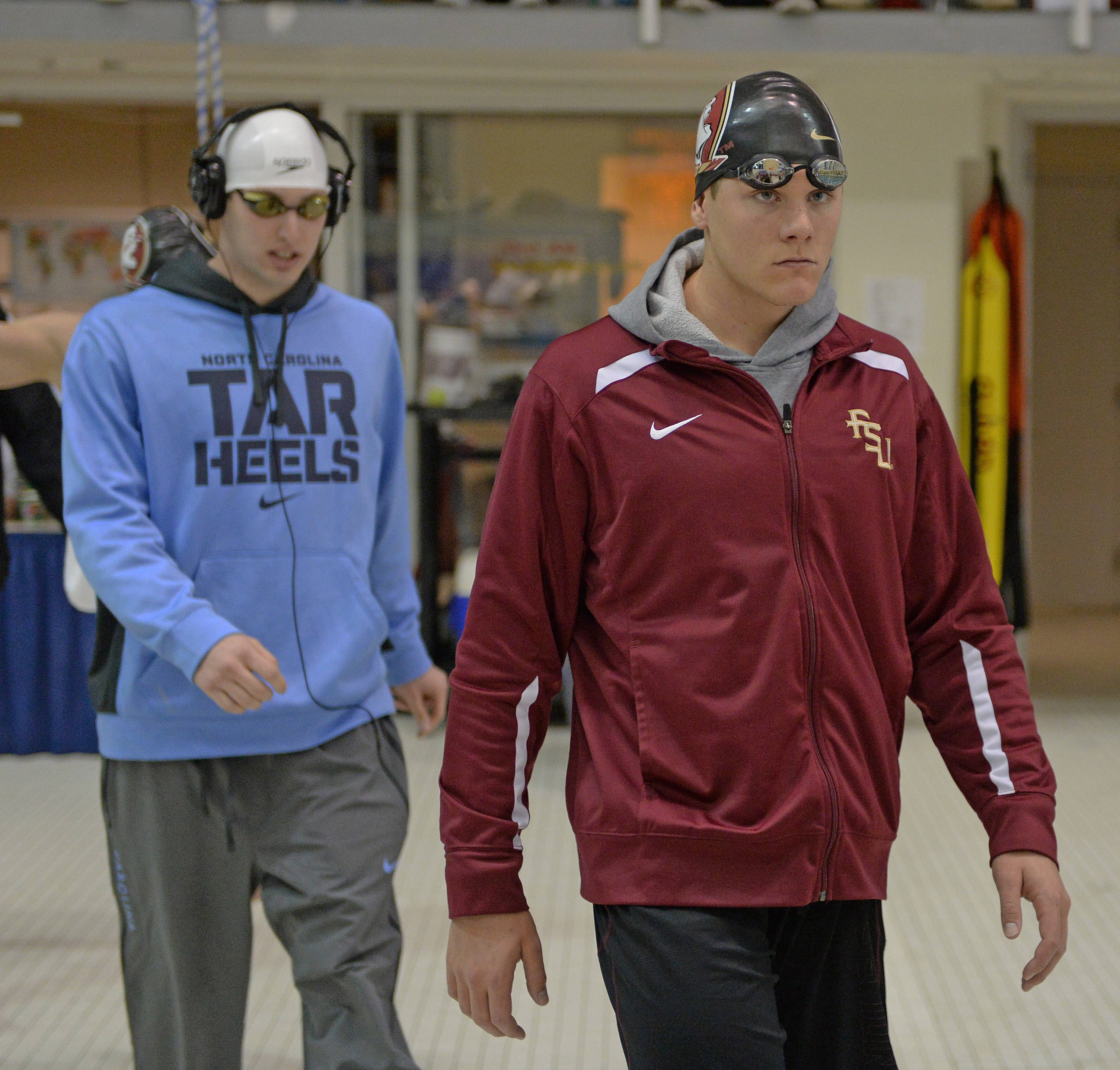 Connor Knight heads to the blocks for the 200 fly final - Mitch White