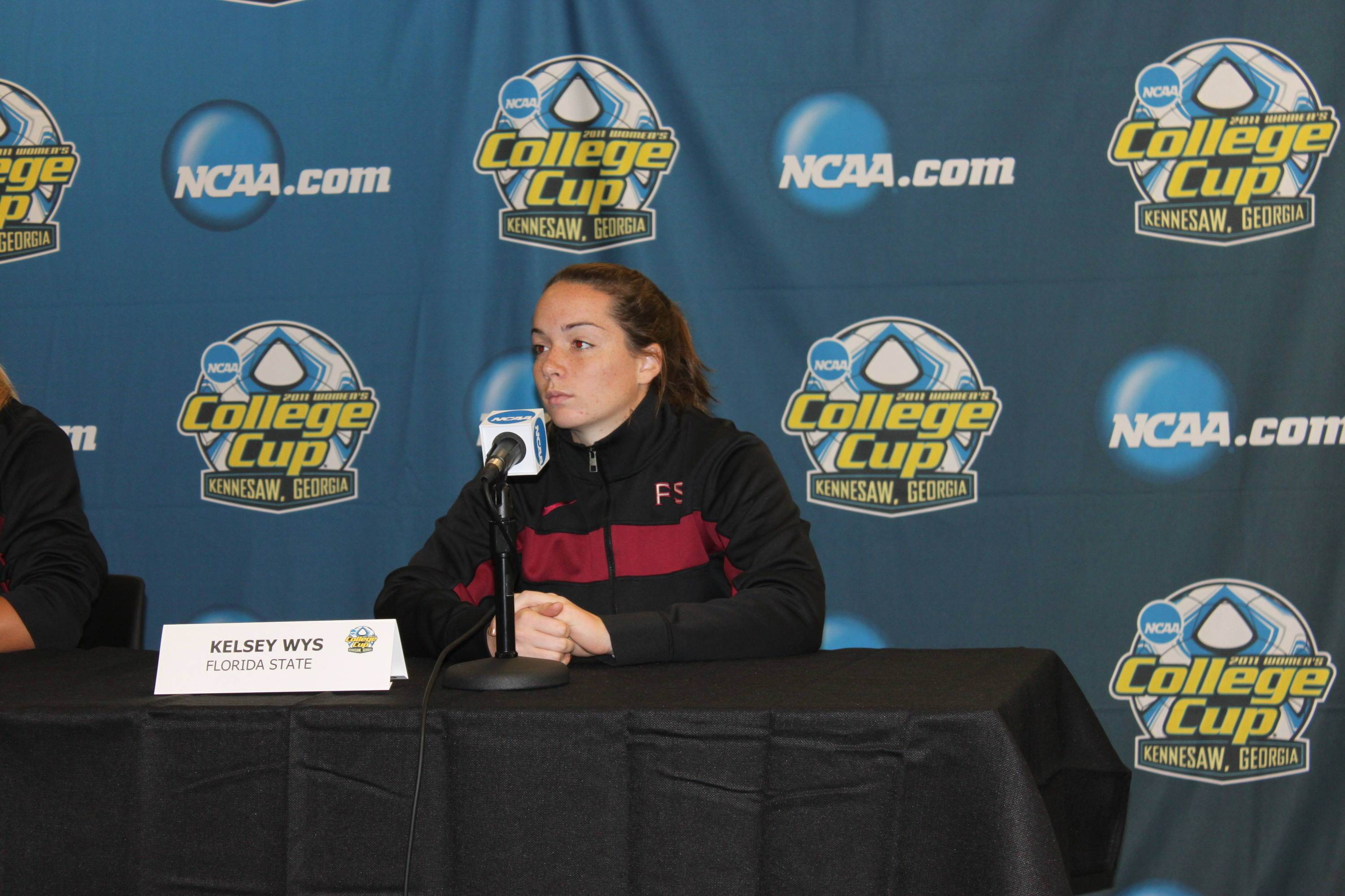 Sophomore goalkeeper Kelsey Wys waits her turn to answer some questions during Thursday's press conference.