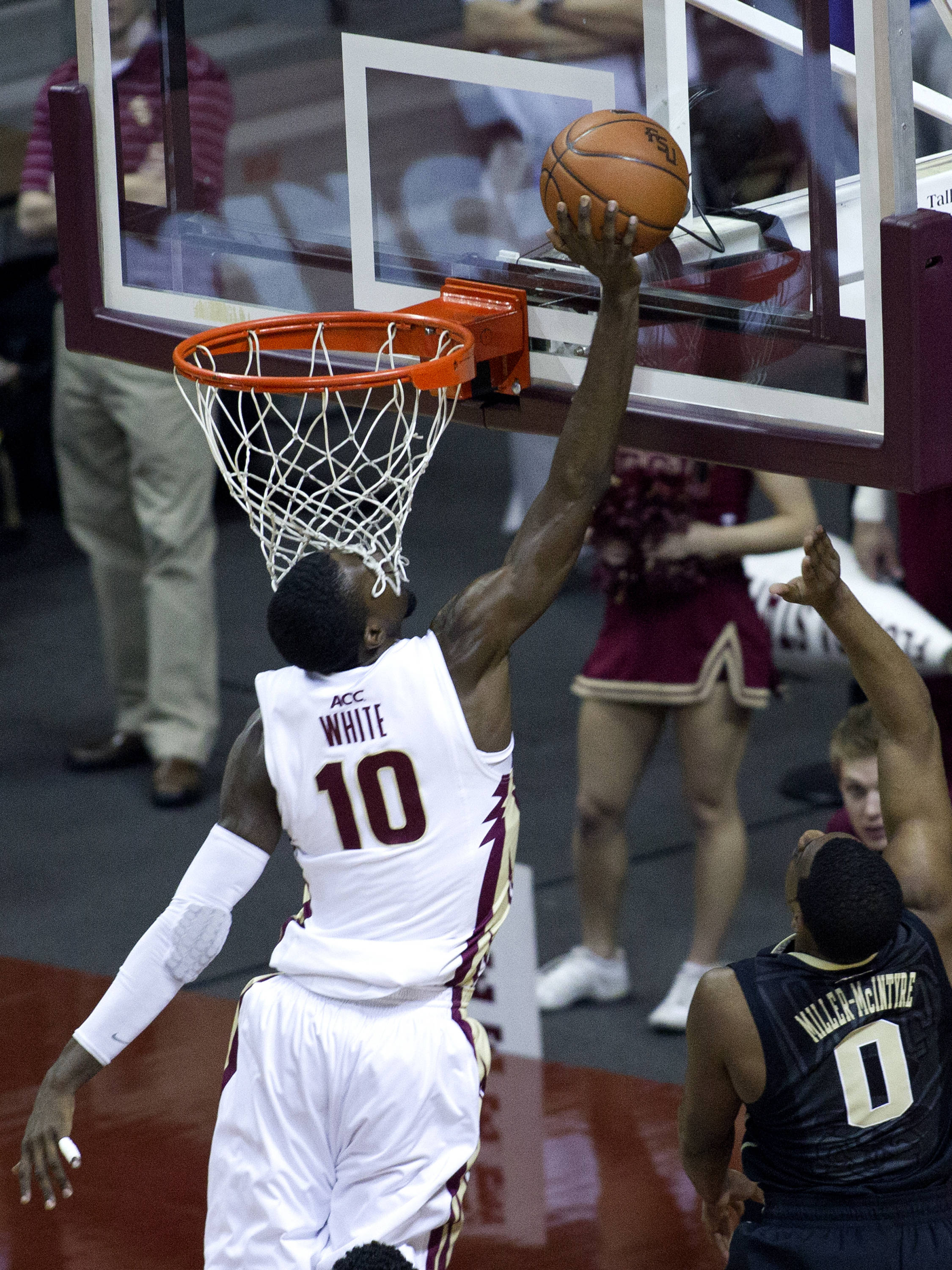 Okaro White (10), FSU vs Wake Forest, 02/26/13. (Photo by Steve Musco)