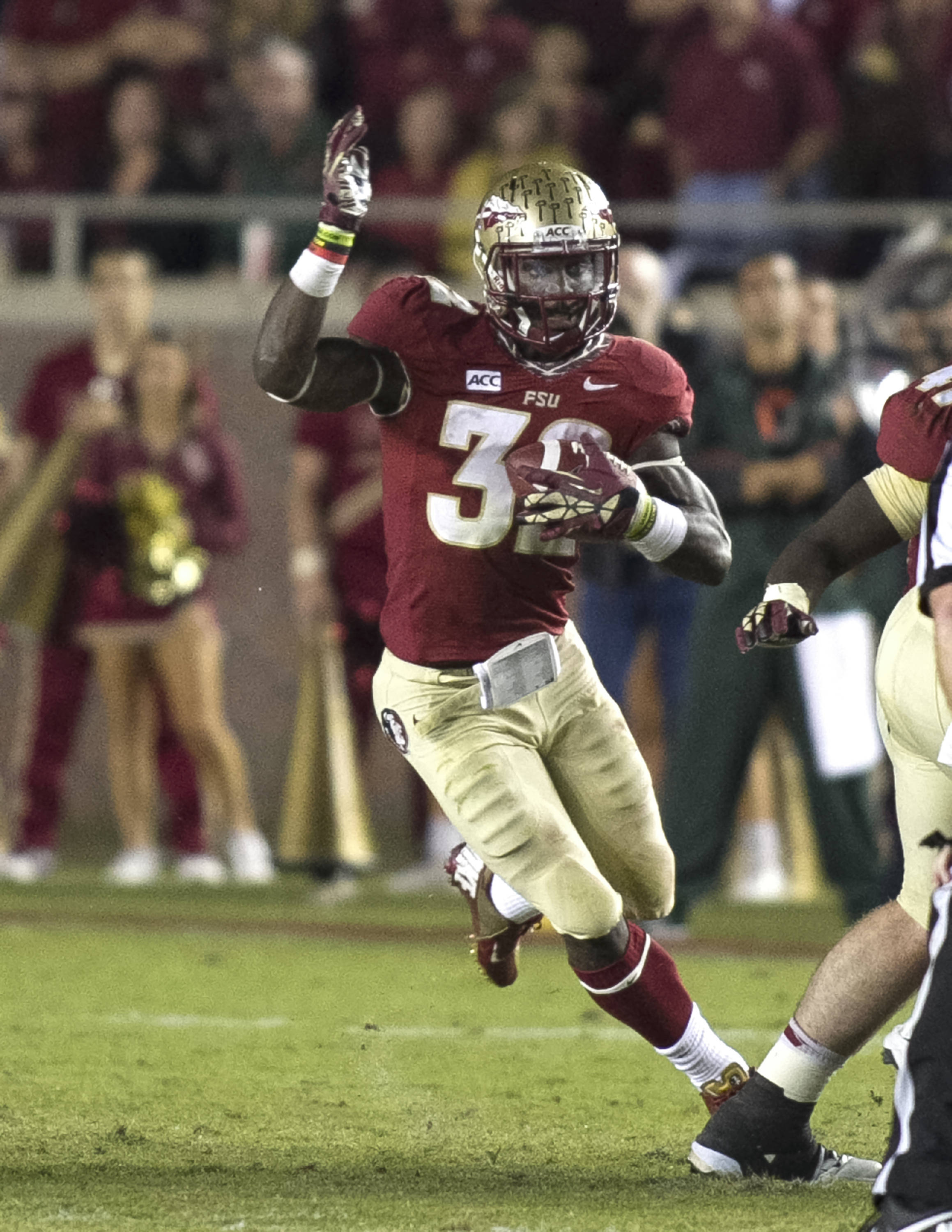 James Wilder, Jr. (32), FSU vs Miami,  11-2-13, (Photo by Steve Musco)