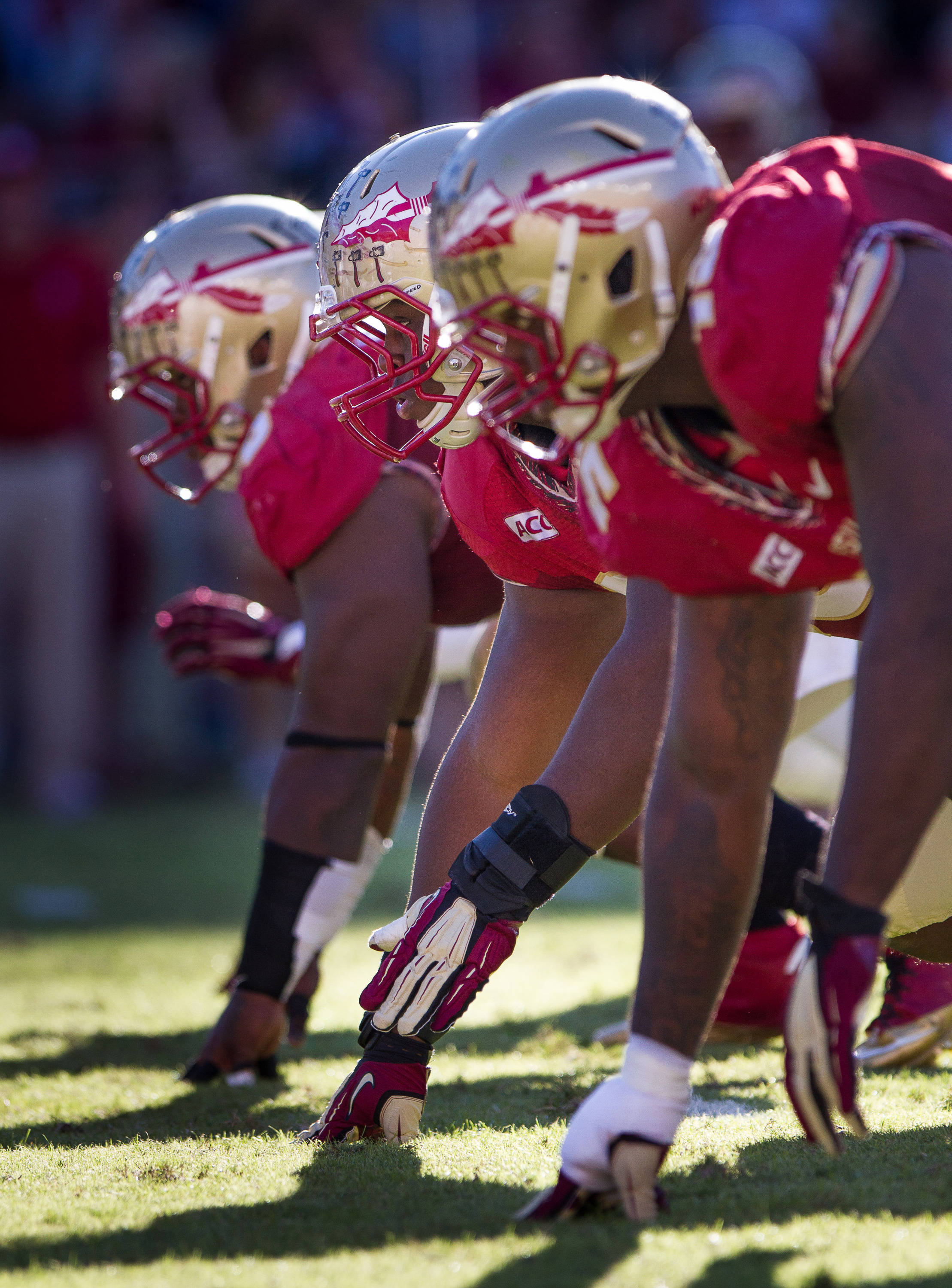FSU's defensive line waits for the snap during FSU Football's 49-17 win over NC State on Saturday, October 26, 2013 in Tallahassee, Fla. Photo by Michael Schwarz.