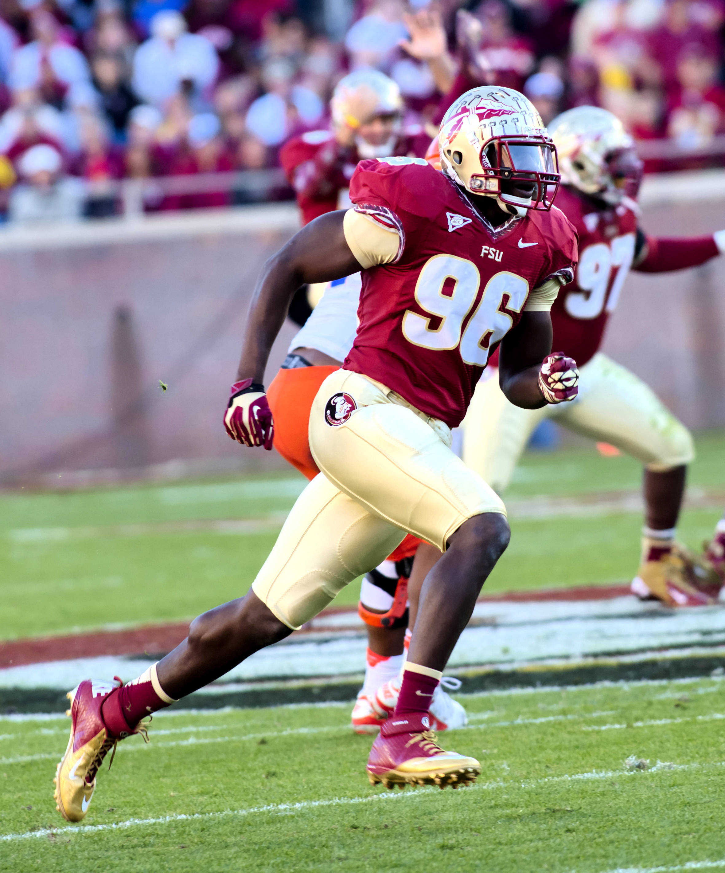 Toshmon Stevens (96), FSU vs Florida, 11/24/12. (Photo by Steve Musco)