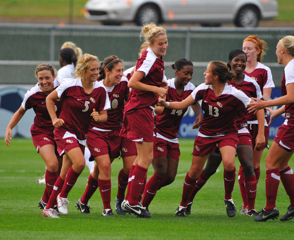 The Seminoles celebrate after scoring one of four goals on Friday against Penn State.