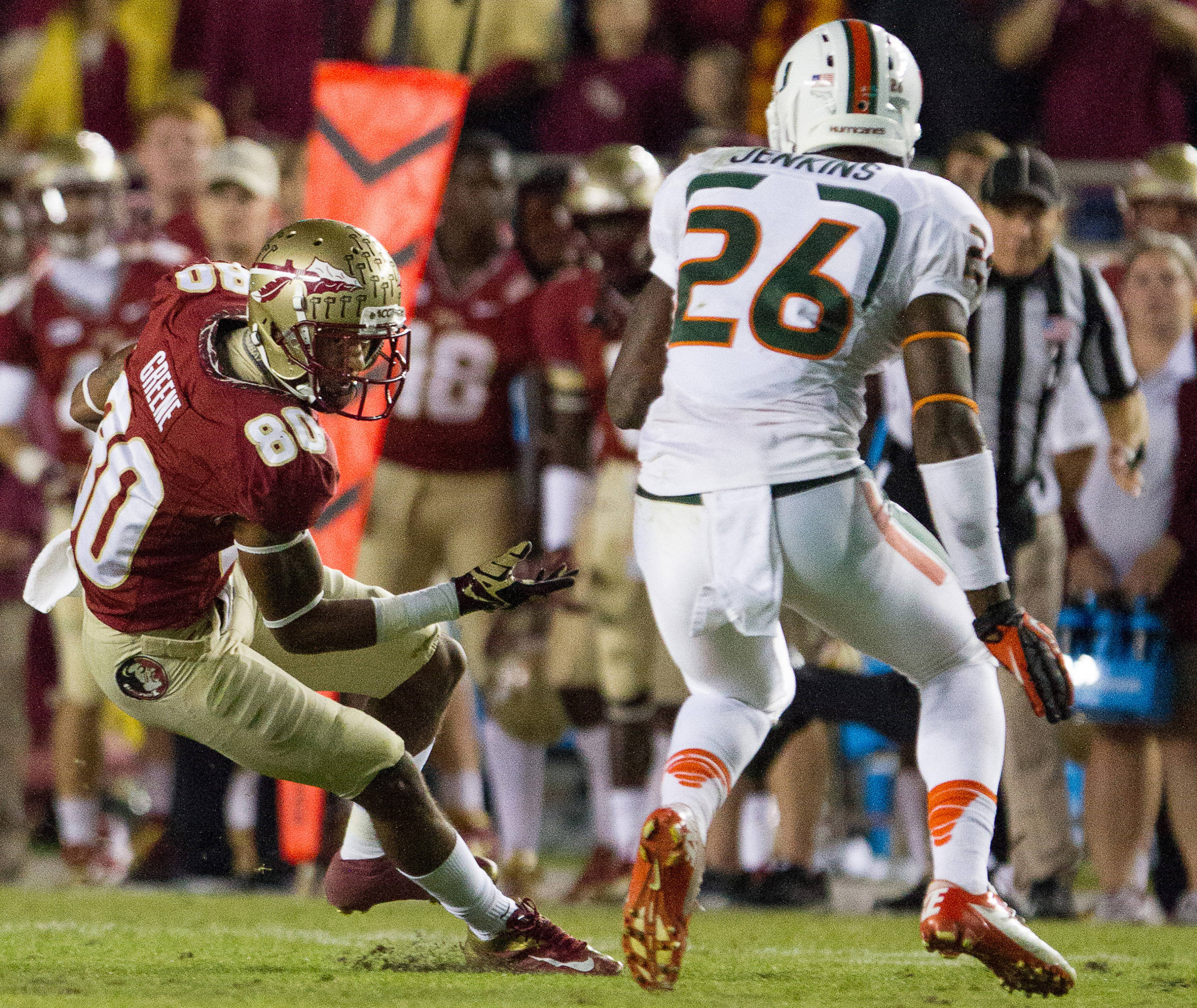 Rashad Greene (80) runs the ball during FSU football's 41-14 win over Miami on Saturday, November 2, 2013 in Tallahassee, Fla. Photo by Michael Schwarz.