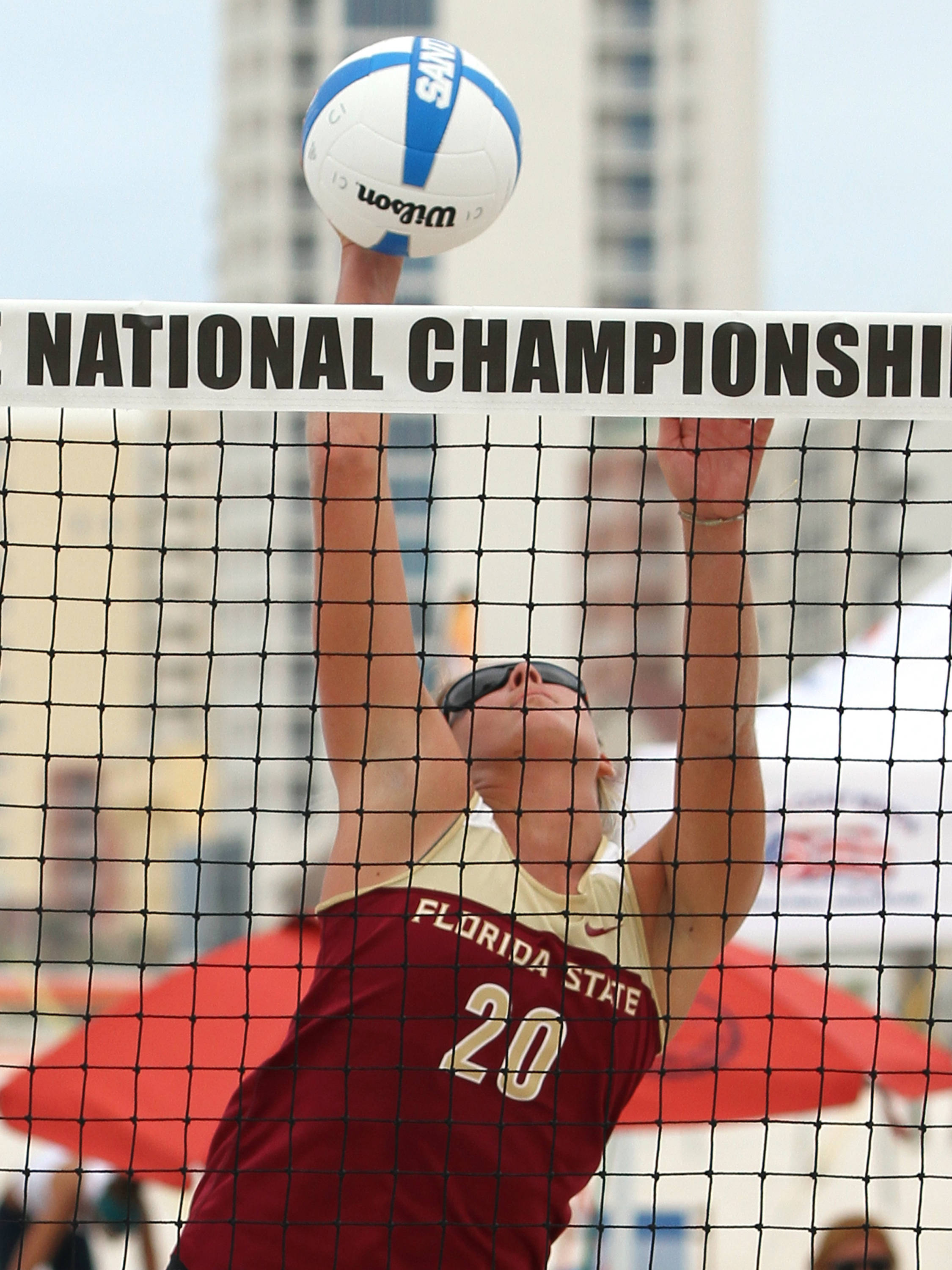 Sarah Wickstrom (20), AVCA Collegiate Sand Volleyball National Championships,  Gulf Shores, Alabama,05/03/13 . (Photo by Steve Musco)