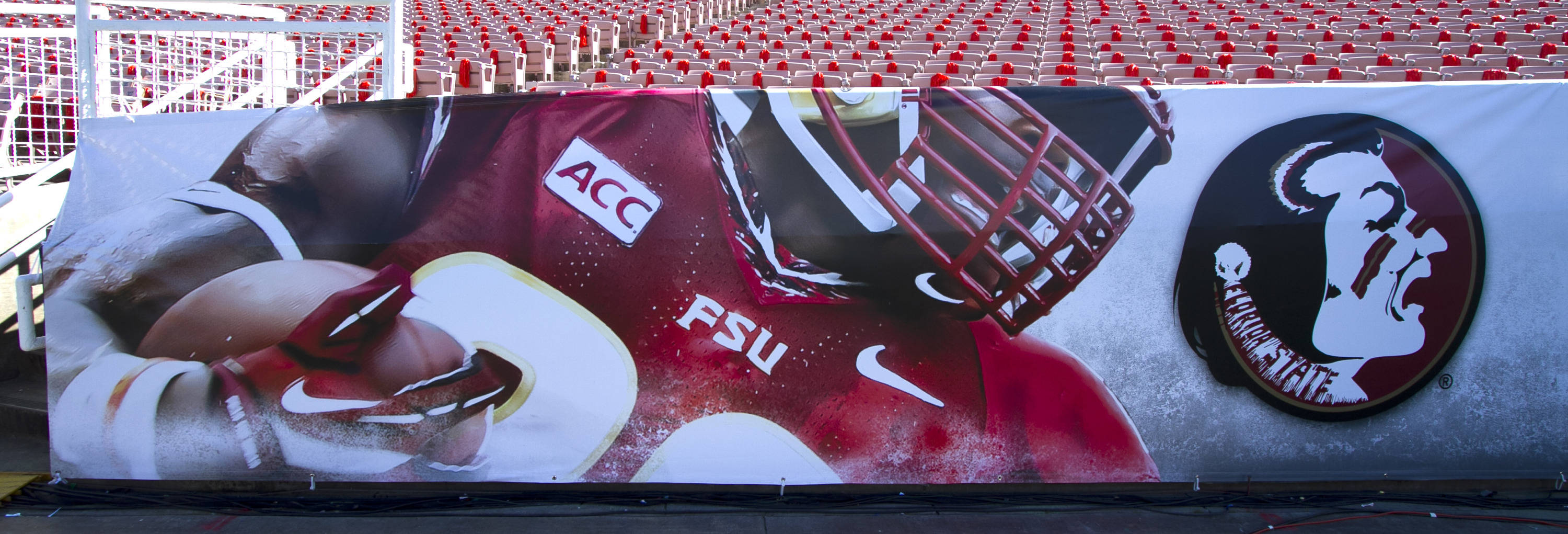 Side line signage, FSU at BCS Championship, Rose Bowl, Pasadena, CA,  1-06-14,  (Photo by Steve Musco)