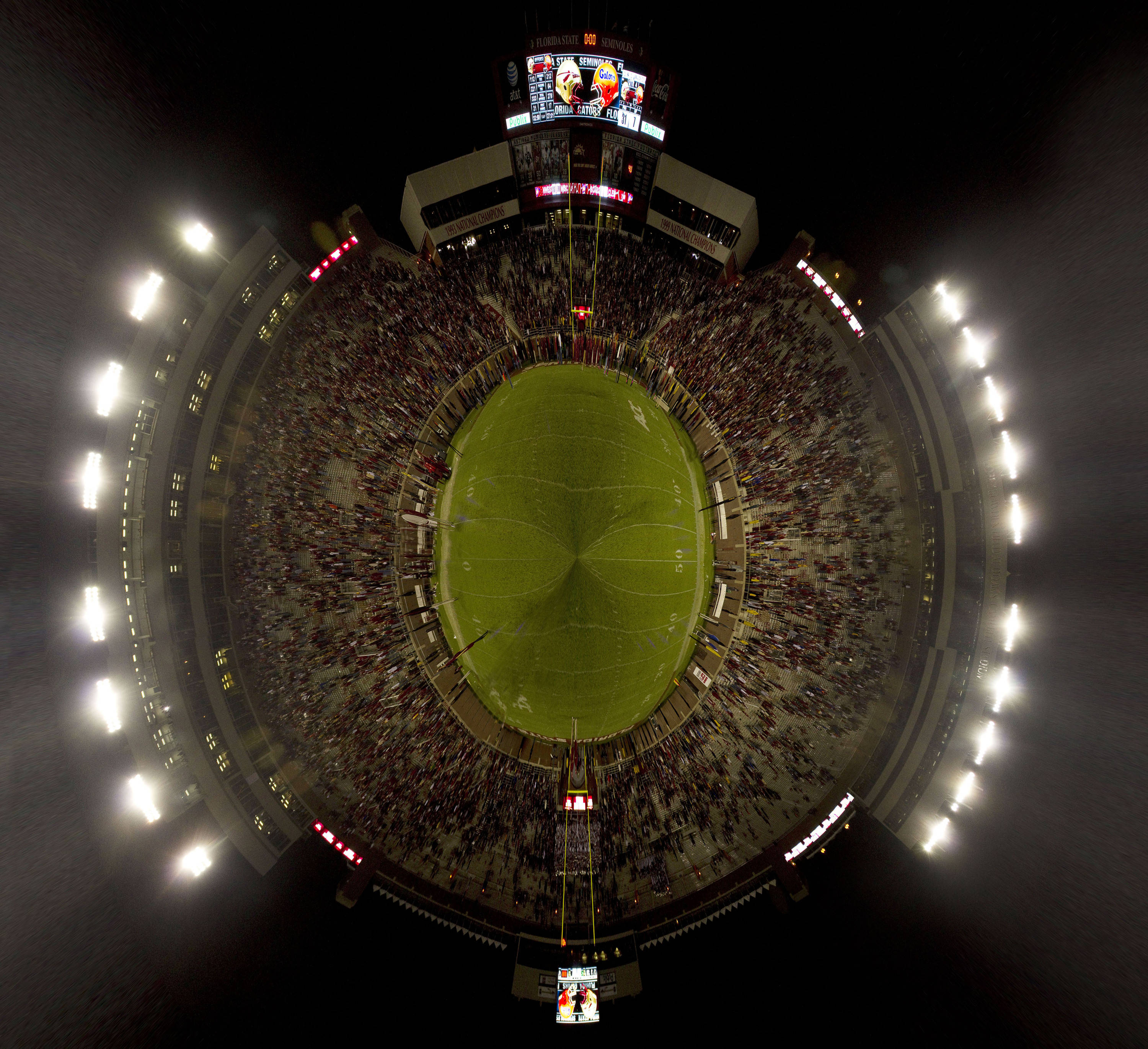 360 degree fisheye view of the the stadium after the 'Noles victory over the Gators.  (photoillustration)
