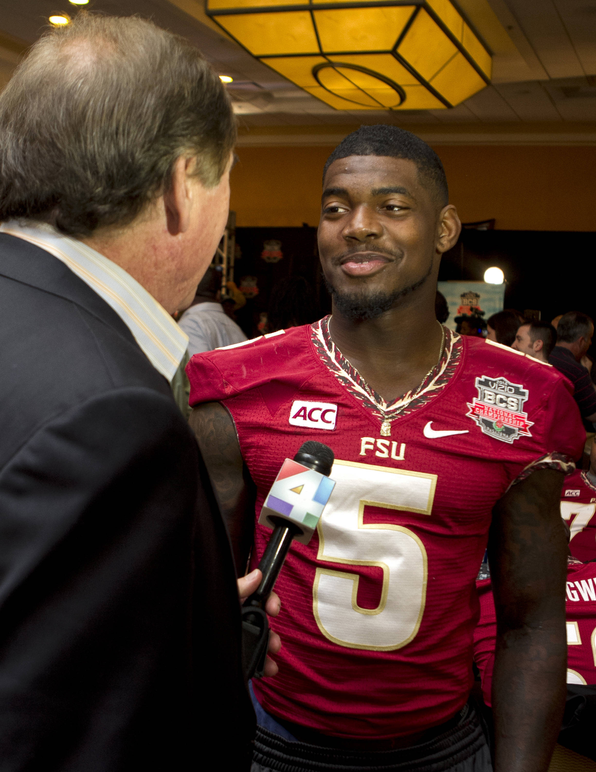 Reggie Northrup (5), FSU at BCS Championship Media Day,  1-04-14,  (Photo by Steve Musco)