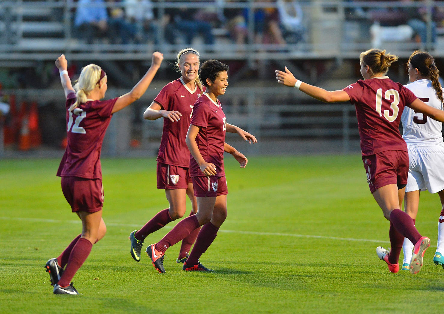 The Seminoles celebrate after Nora Kervroedan scored the equalizer in the 62nd minute.