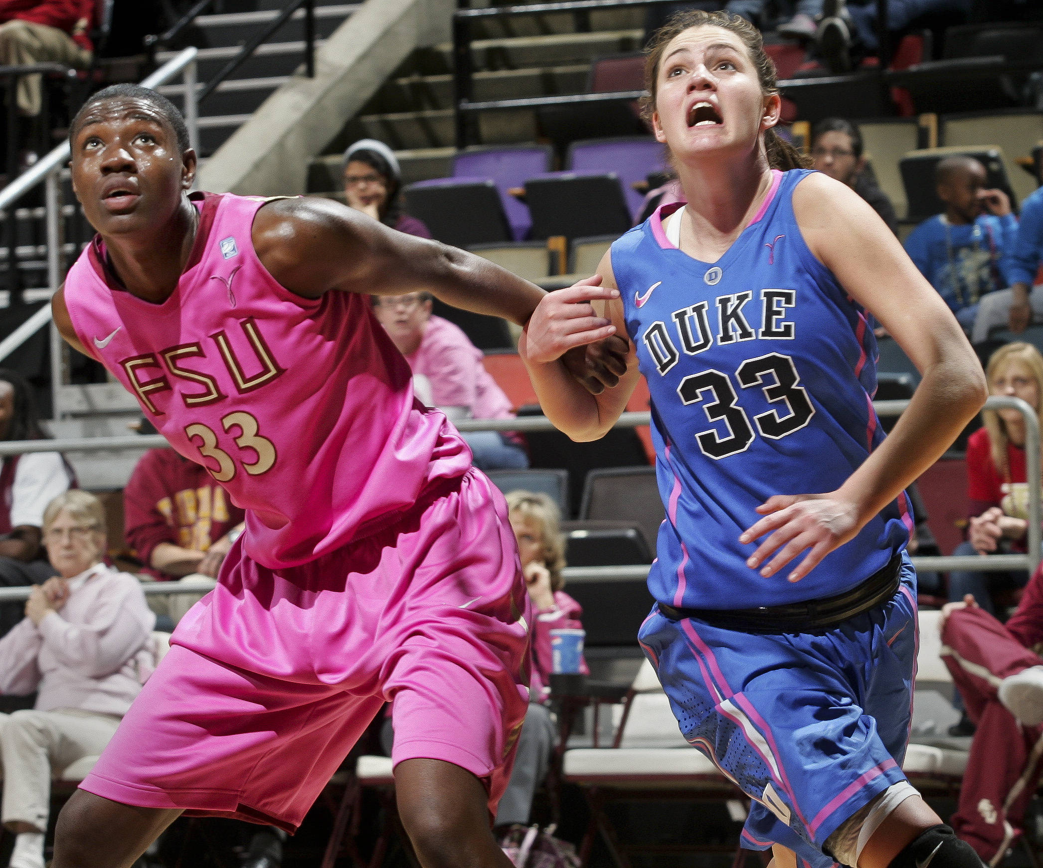 Florida State's Natasha Howard, left, and Duke's Haley Peters battle for position on a rebound. (AP Photo/Phil Sears)